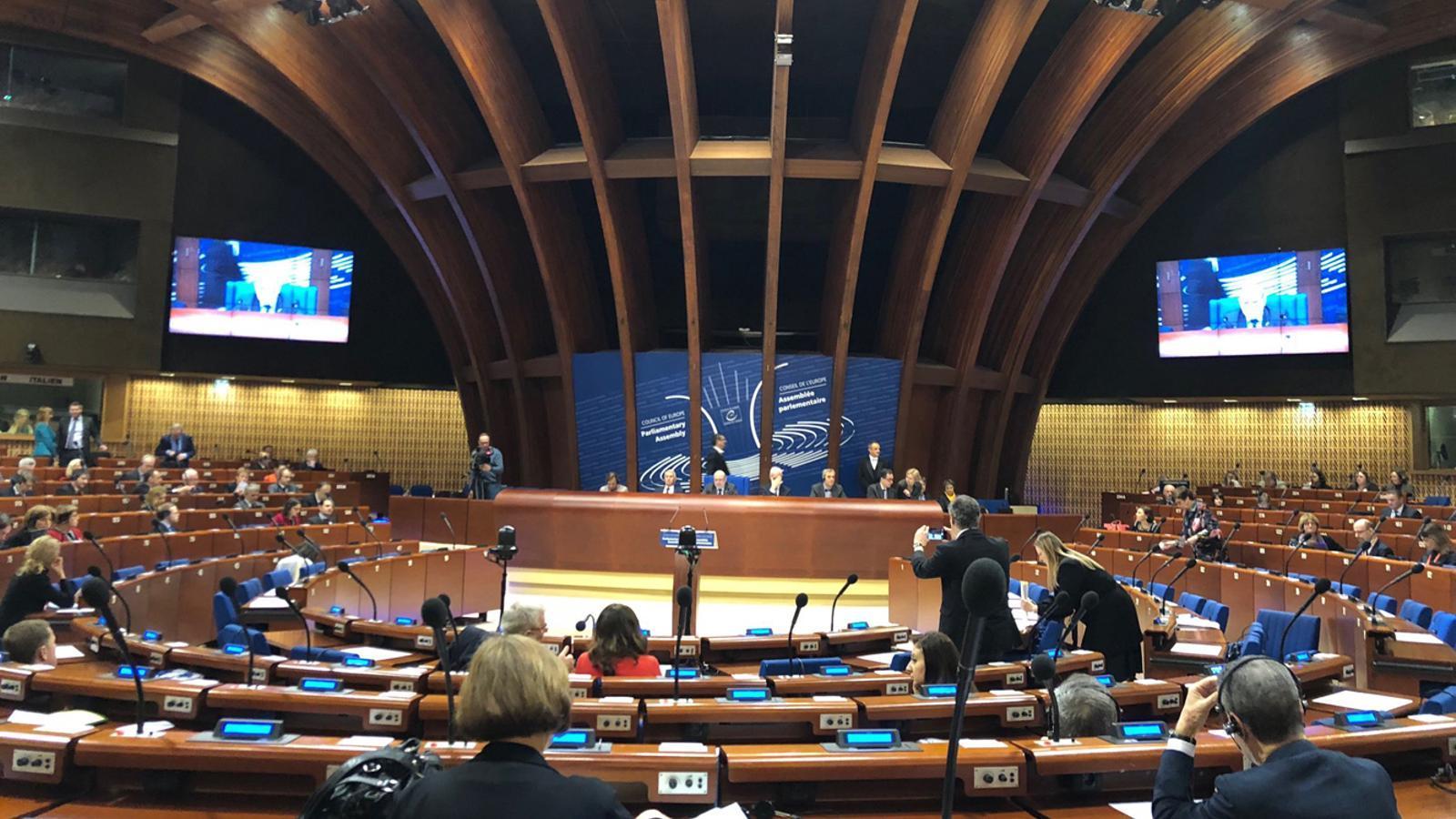 Imatge publicada per Carles Jordana aquest dilluns durant la seva participació en el plenari del Consell d'Europa. / C. J. (ANA)