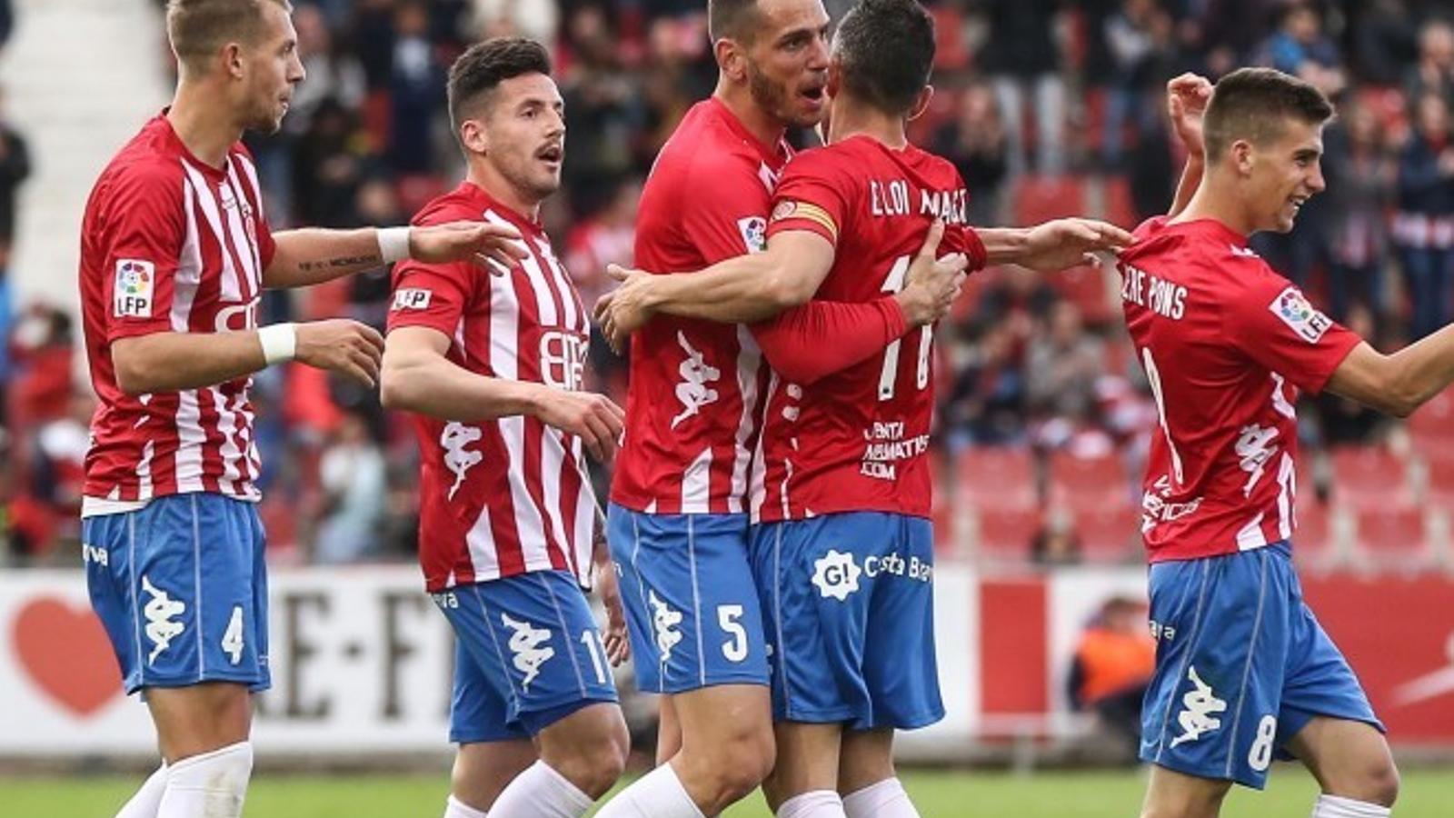 L'alegria dels jugadors del Girona