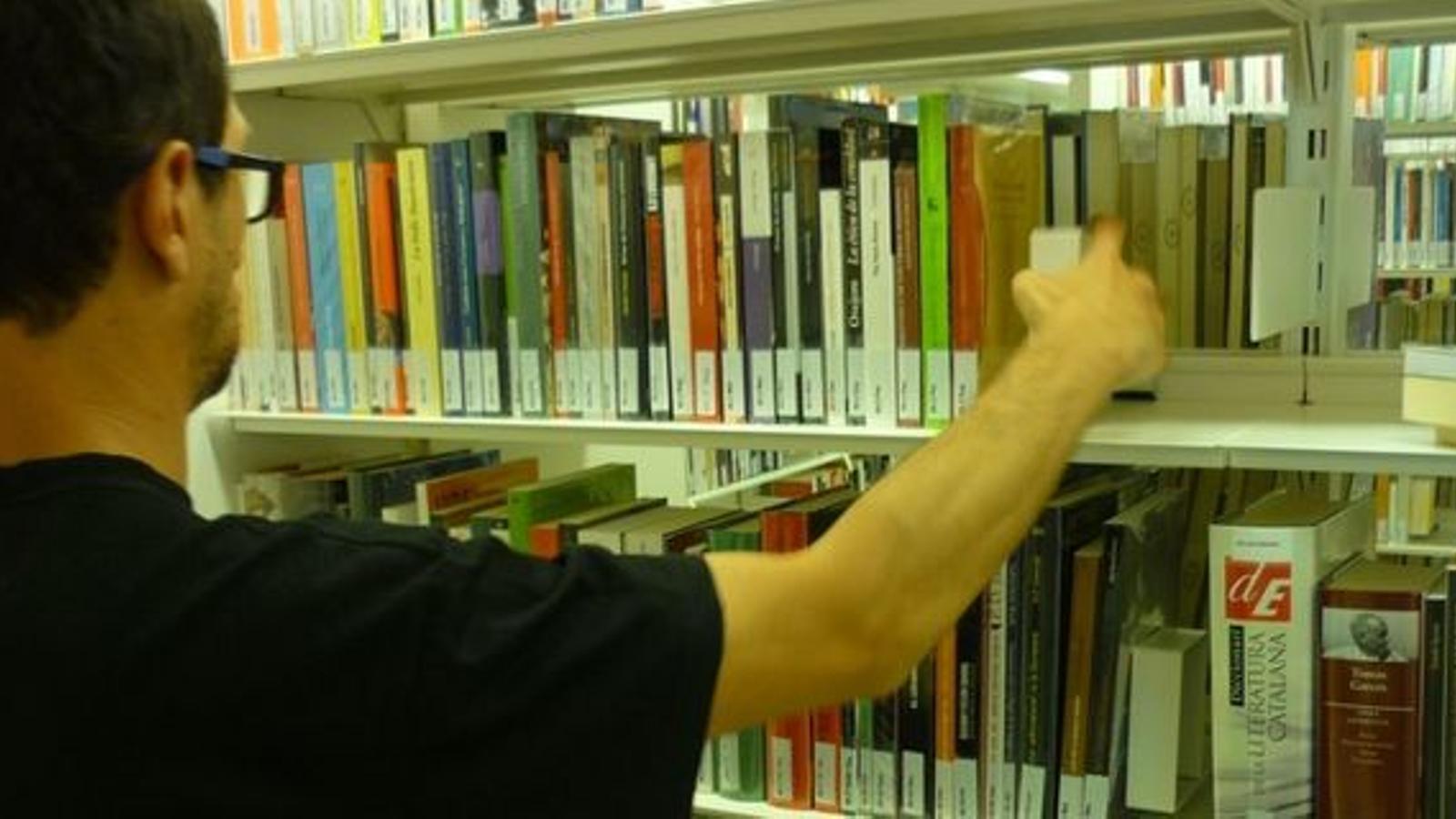 Un usuari a la biblioteca