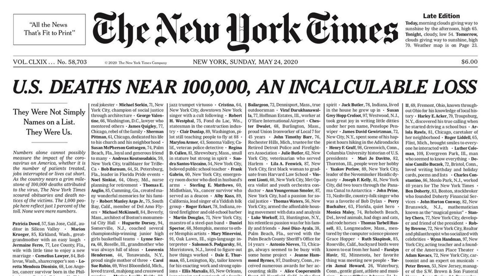 La portada del 'New York Times' dedicada als morts pel covid-19