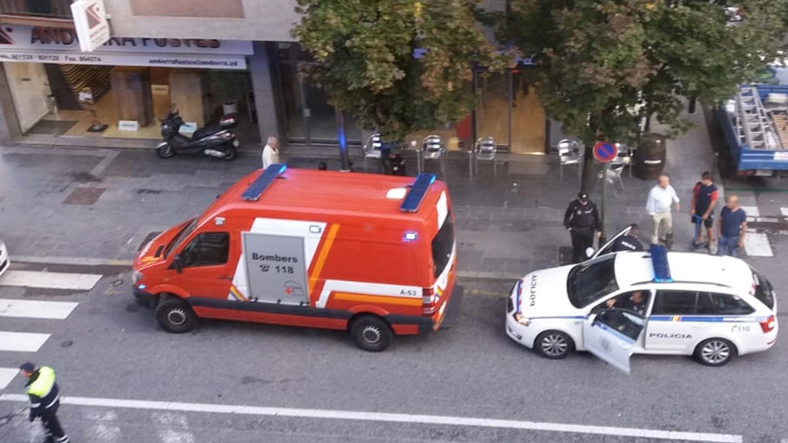Els efectius de policia i bombers que s'han desplaçat al lloc dels fets. / A. B. (ANA)