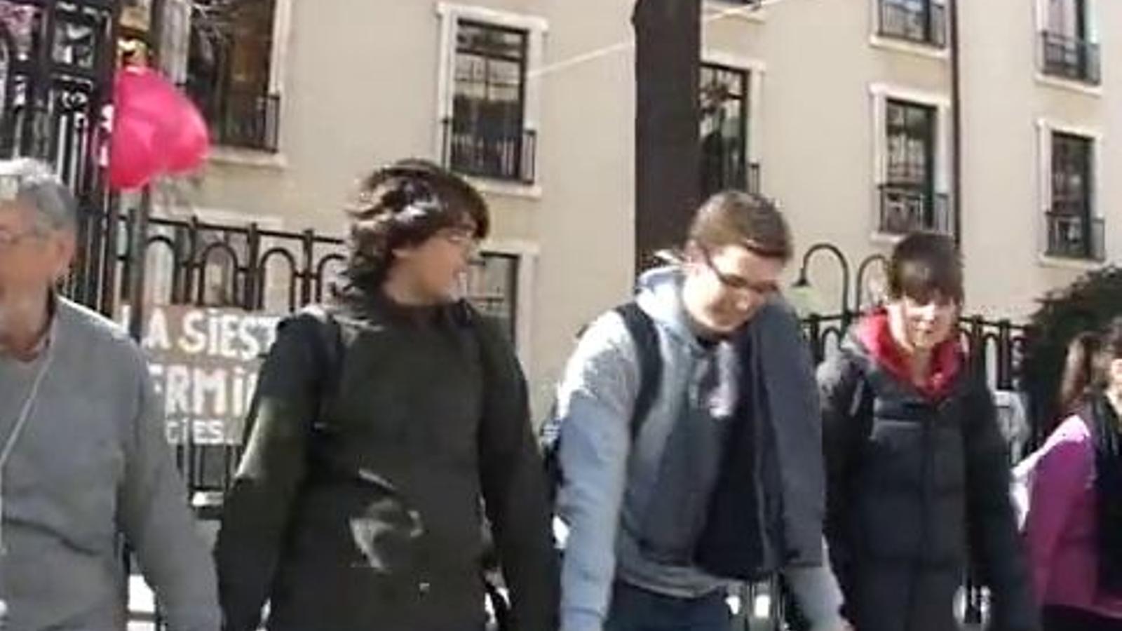 Cadena humana al voltant de l'IES Lluís Vives de València en contra de les actuacions policials i les retallades