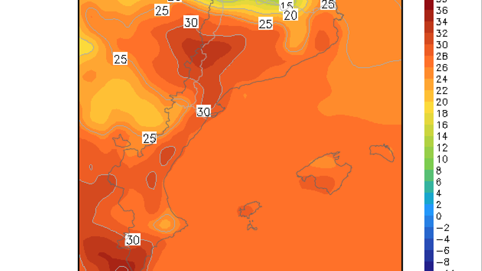 Temperatura màxima prevista per aquest dilluns / GFS 0.25 / ARA Méteo