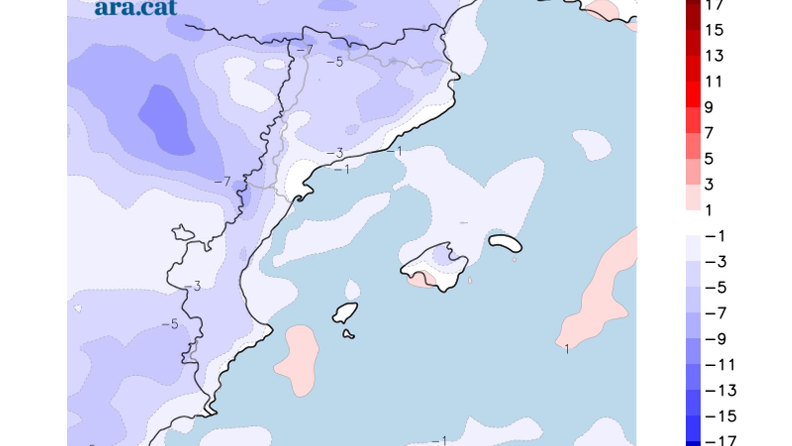 Diferència de temperatura màxima entre dissabte i diumenge.