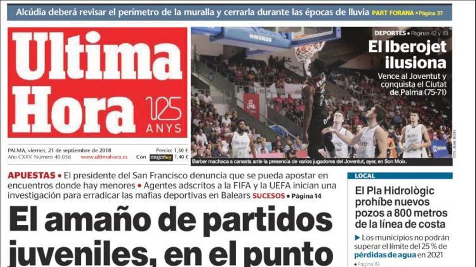 """""""La compravenda de partits juvenils, en el punt de mira de la Interpool"""", portada d''Última Hora'"""