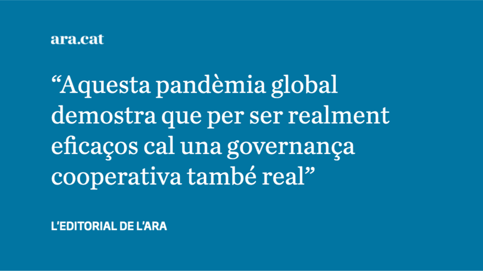 Una pandèmia global que ha portat a un confinament global