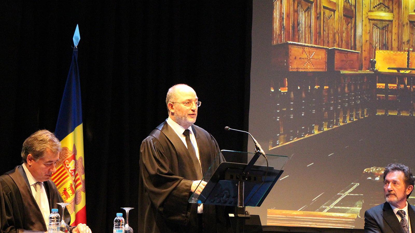 Un moment de la intervenció del fiscal general, Alfons Alberca, durant l'obertura de l'any judicial. / M. F.