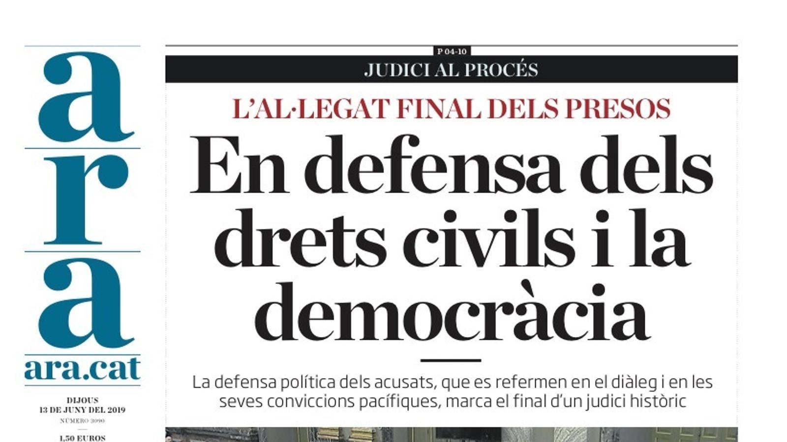 """""""Procés: sense penedits"""", portada de 'La Razón'"""