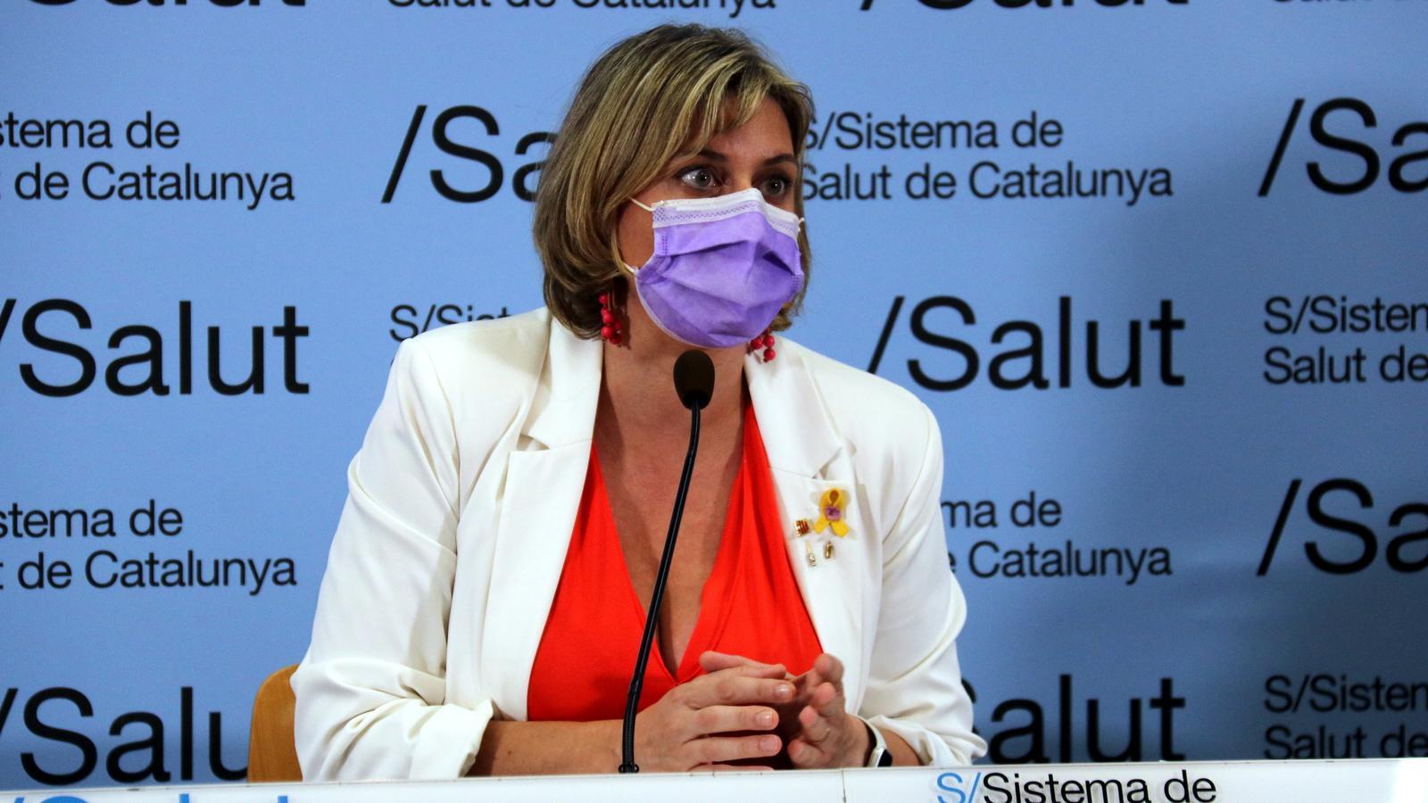 La consellera de Salut, Alba Vergés, durant la roda de premsa d'aquest dijous per explicar el circuit que segueixen els malalts de covid-19 i com es fa el rastreig de contactes i el seguiment