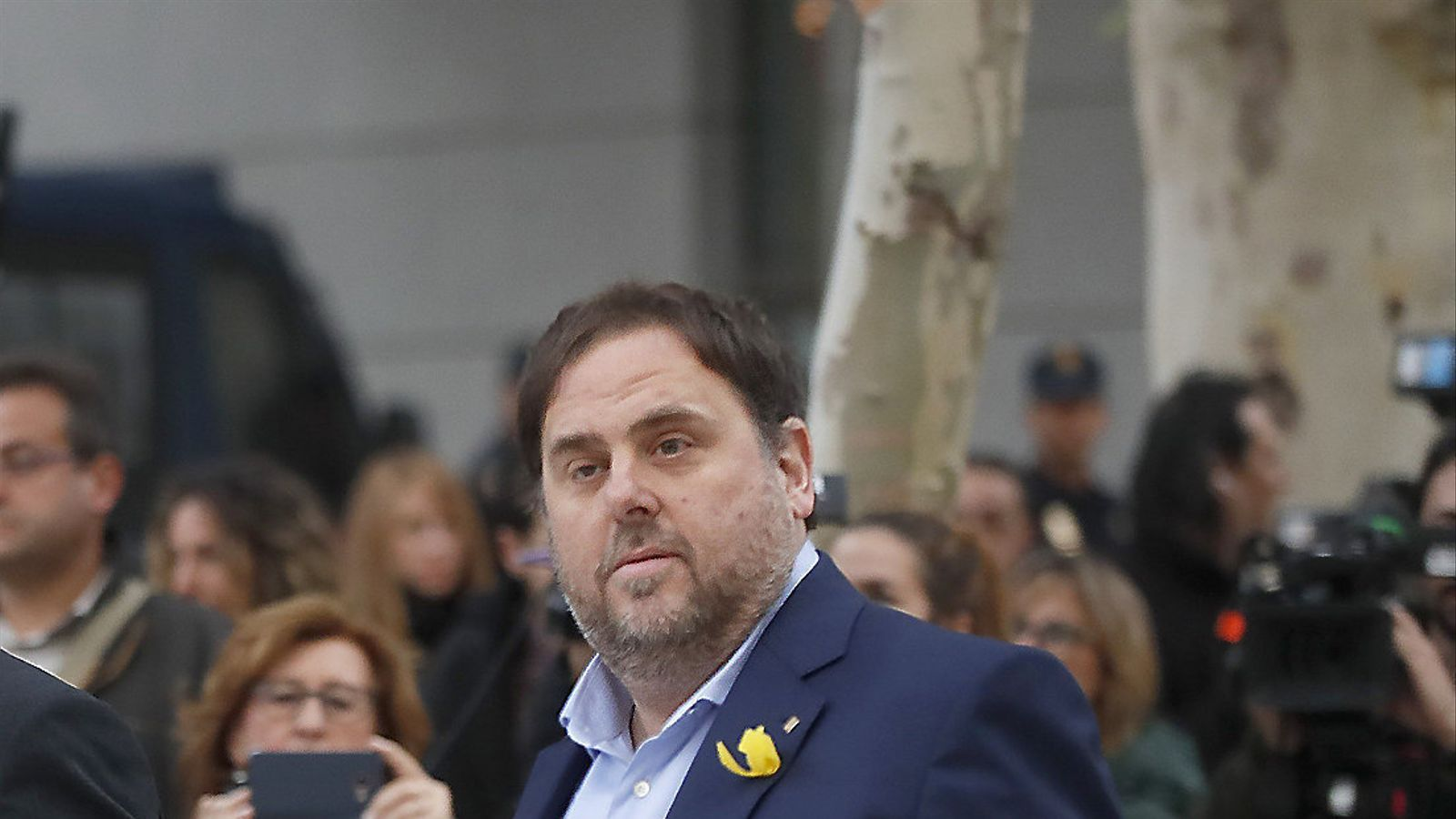 El vicepresident de la Generalitat, Oriol Junqueras, davant de l'Audiència.
