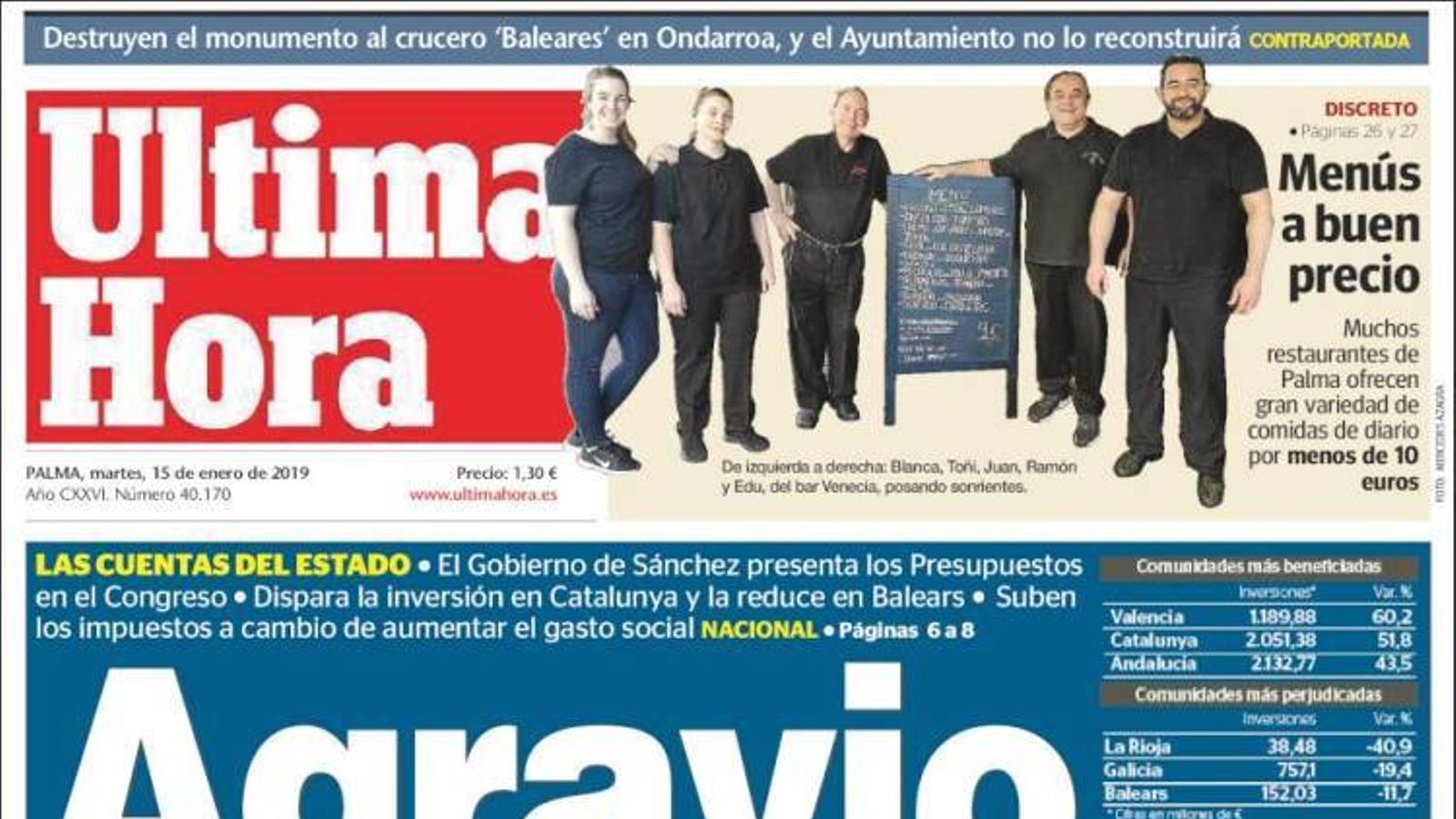 """""""Sánchez castiga Armengol a la cua de les inversions amb una retallada de 20 milions"""", portada de 'Diario de Mallorca'"""