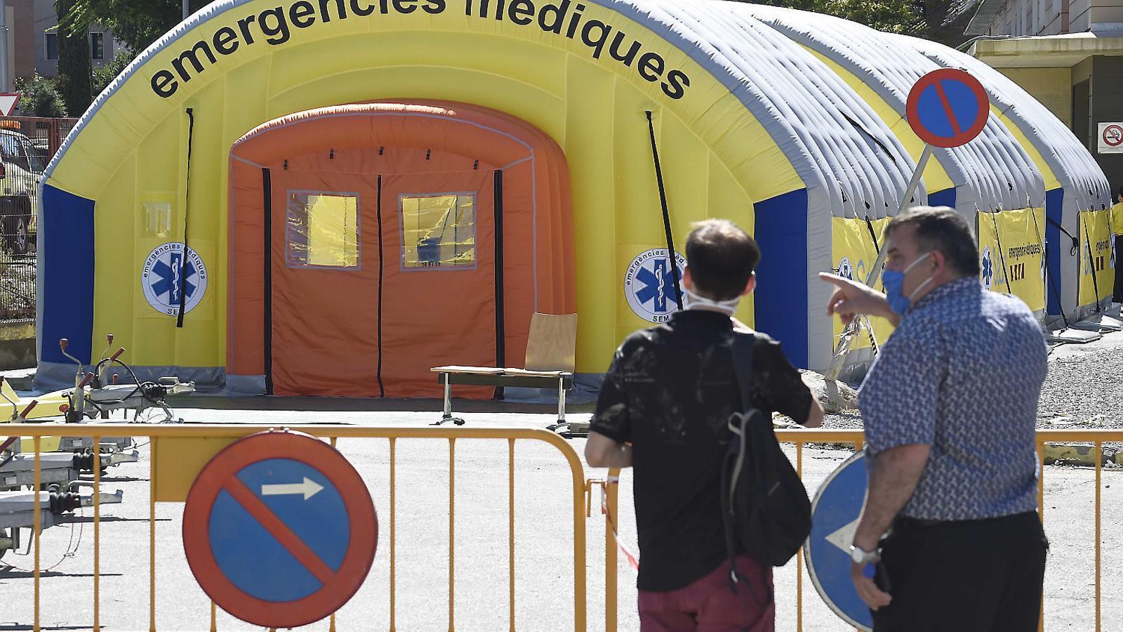 Les carpes a l'exterior de l'Hospital Arnau de Vilanova de Lleida divendres a la tarda. / SANTI IGLESIAS