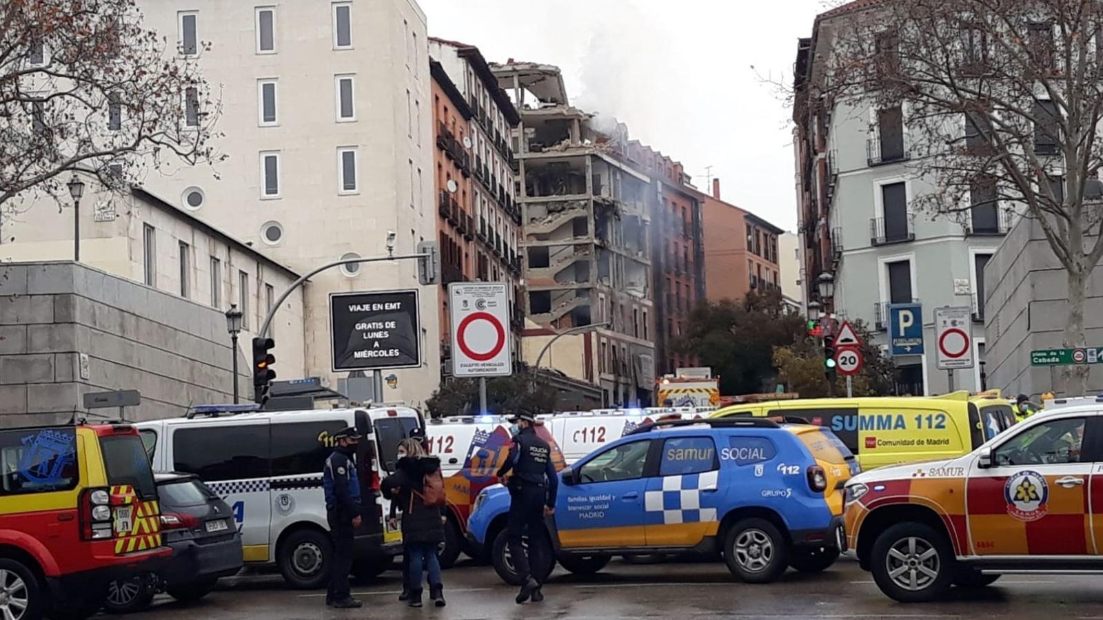 L'edifici afectat per l'explosió de Madrid