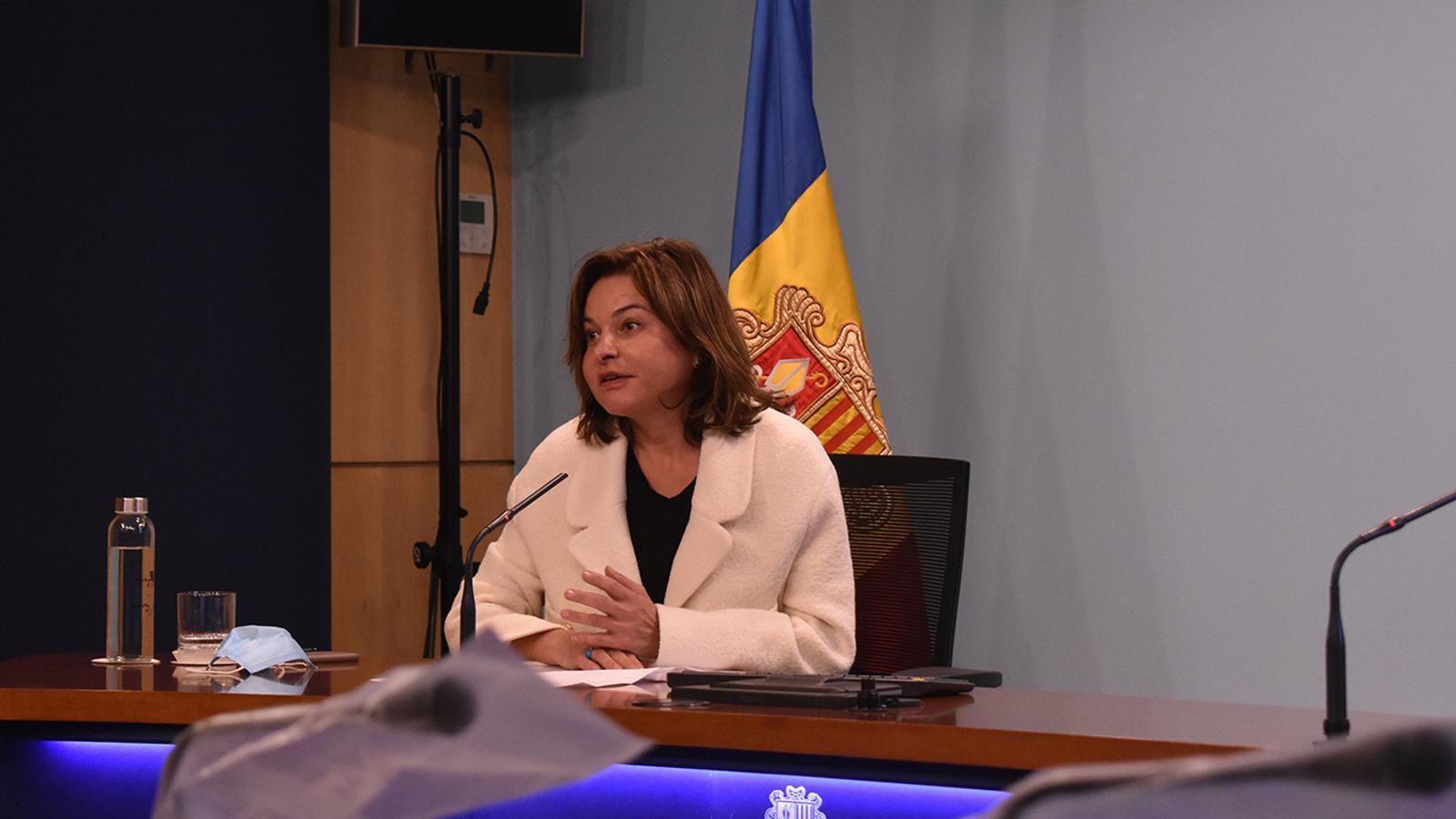 La ministra de Turisme, Verònica Canals, durant la roda de premsa / MP