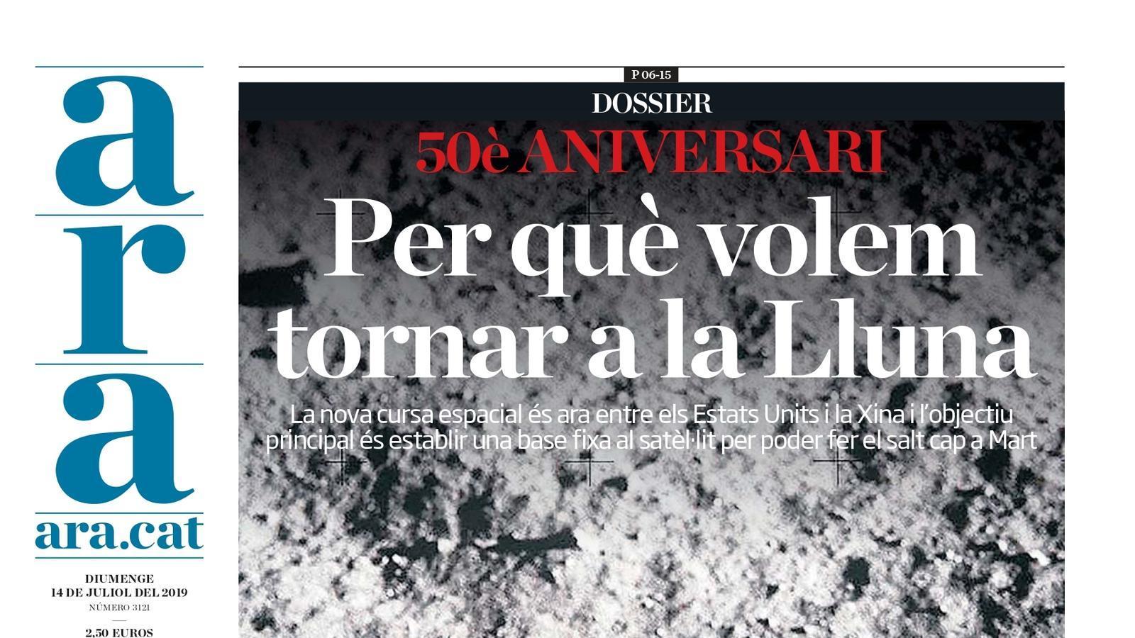 """""""Per què volem tornar a la Lluna"""", la portada de l'ARA"""