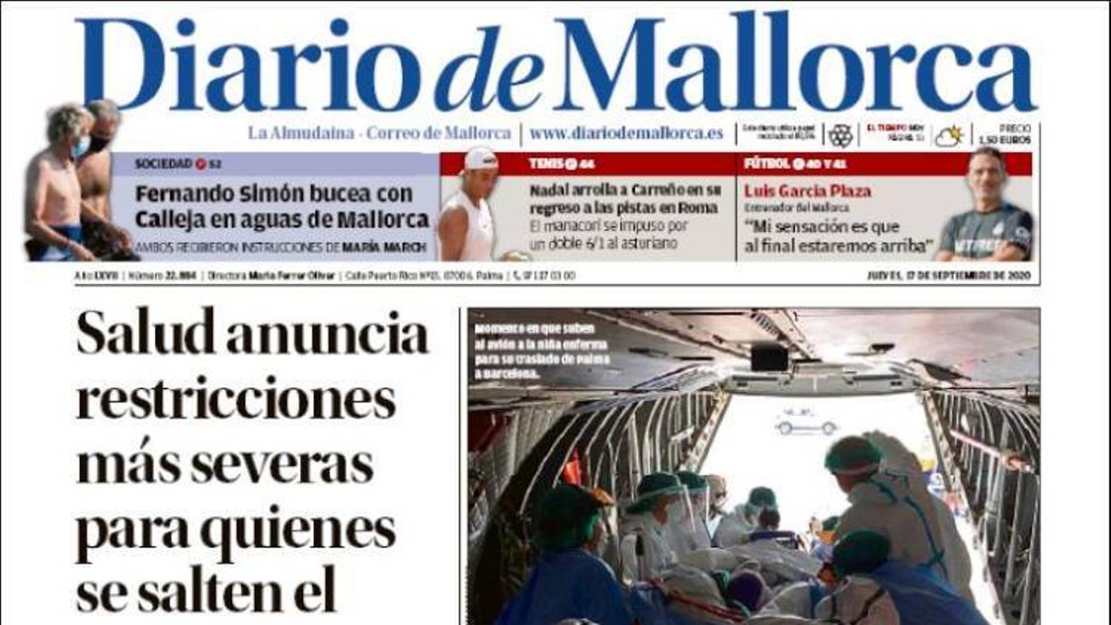 """""""Salut anuncia restriccions més severes per a qui es botin el confinament."""", portada de 'Diario de Mallorca'"""