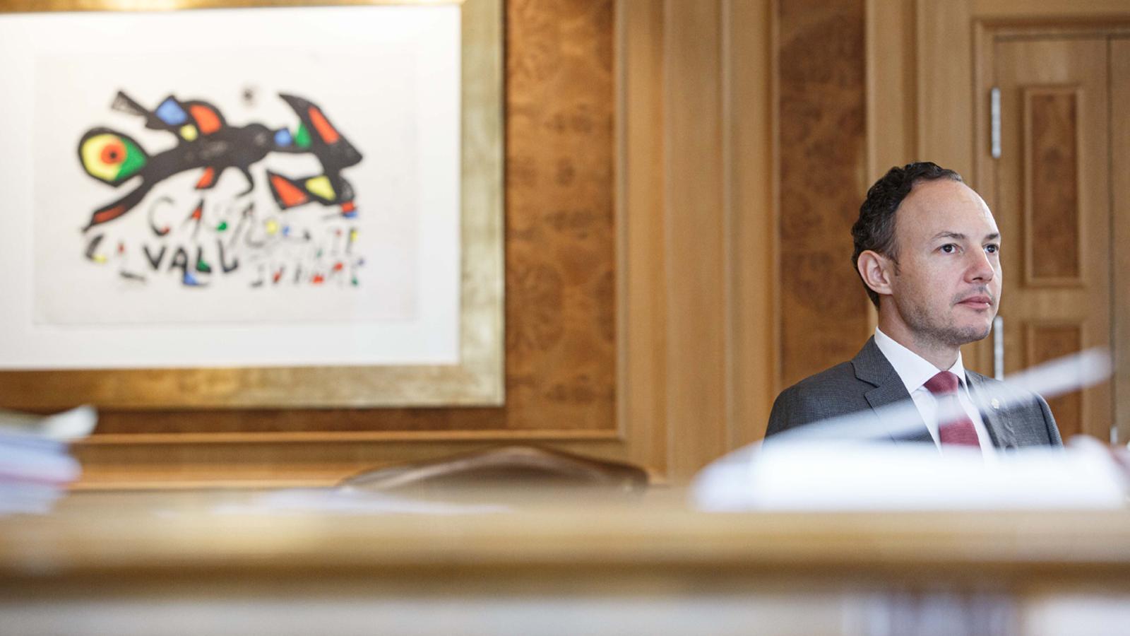 El cap de Govern, Xavier Espot, durant el seu discurs en el marc de la 75a Assemblea General de les Nacions Unides. / SFG