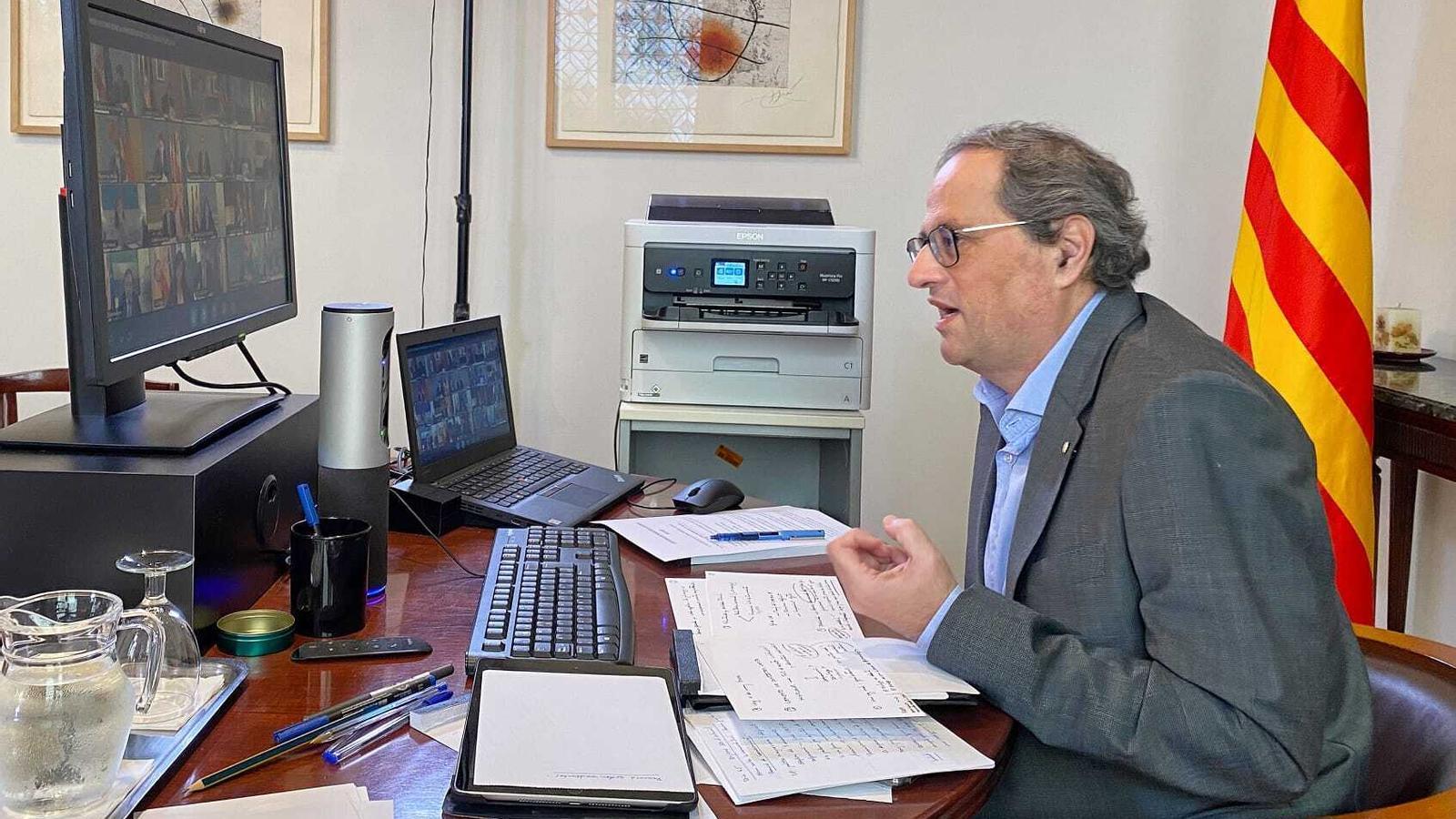 El president de la Generalitat, Quim Torra, aquest diumenge durant la conferència de presidents autonòmics