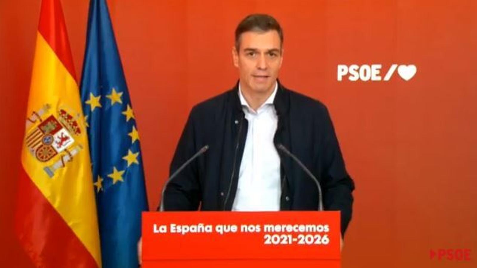 El president del govern espanyol, Pedro Sánchez, en una compareixença a la seu del PSOE