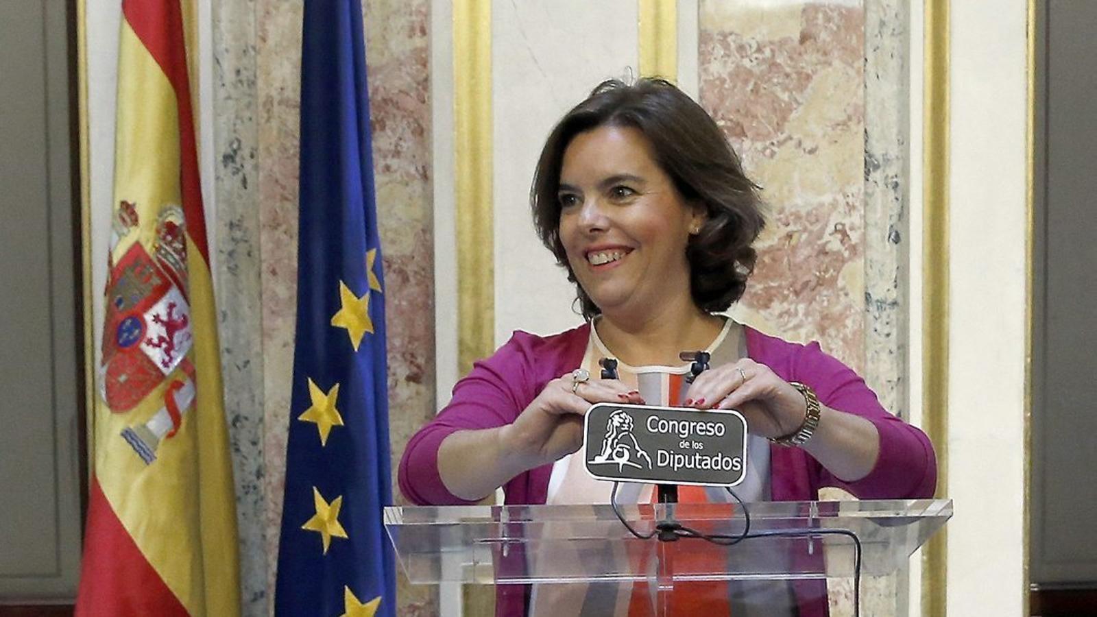 La vicepresidenta del govern espanyol, Soraya Sáenz de Santamaría, va comparèixer ahir al Congrés.