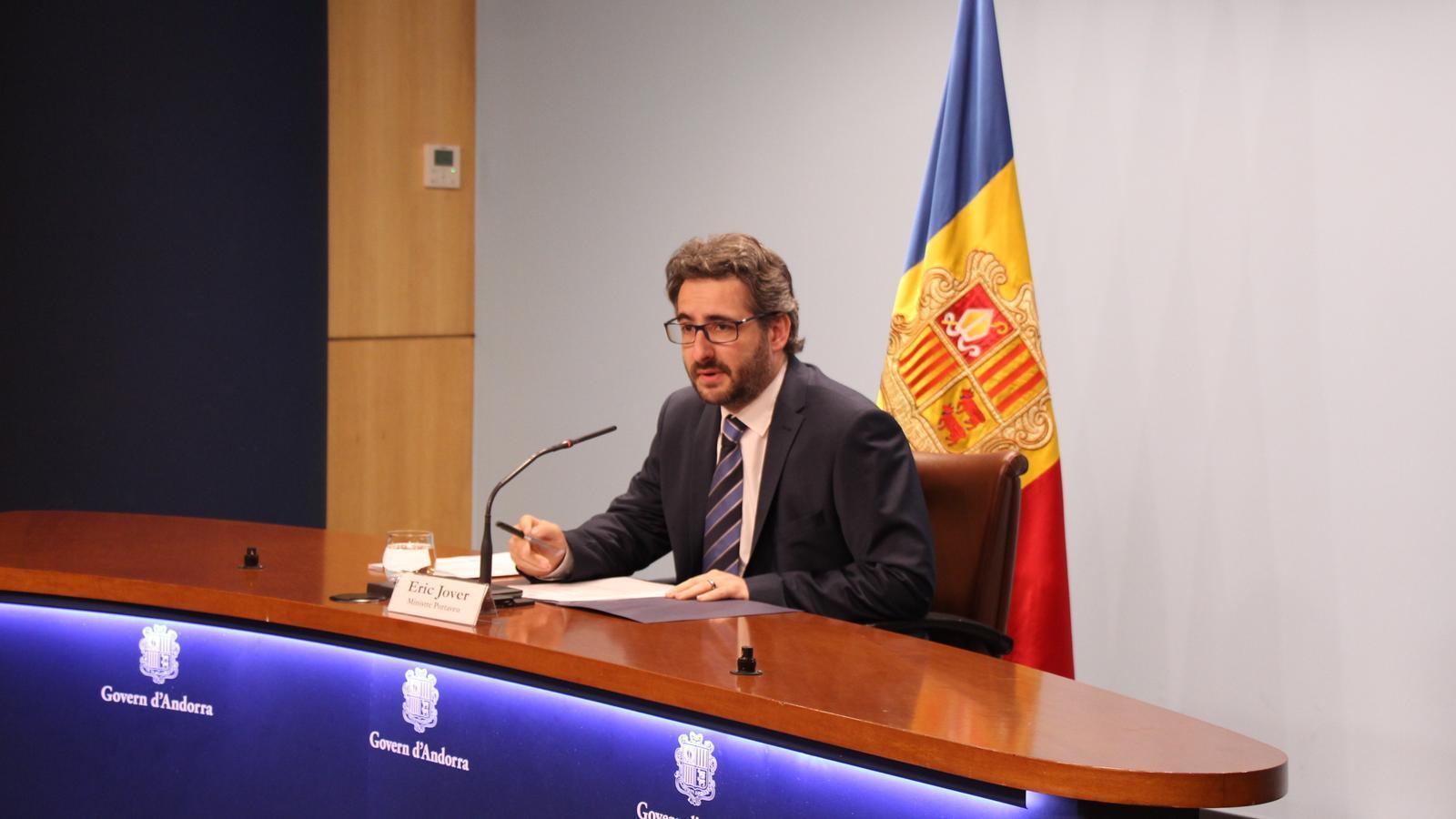El ministre de Finances i portaveu, Eric Jover, en una compareixença recent. / ANA