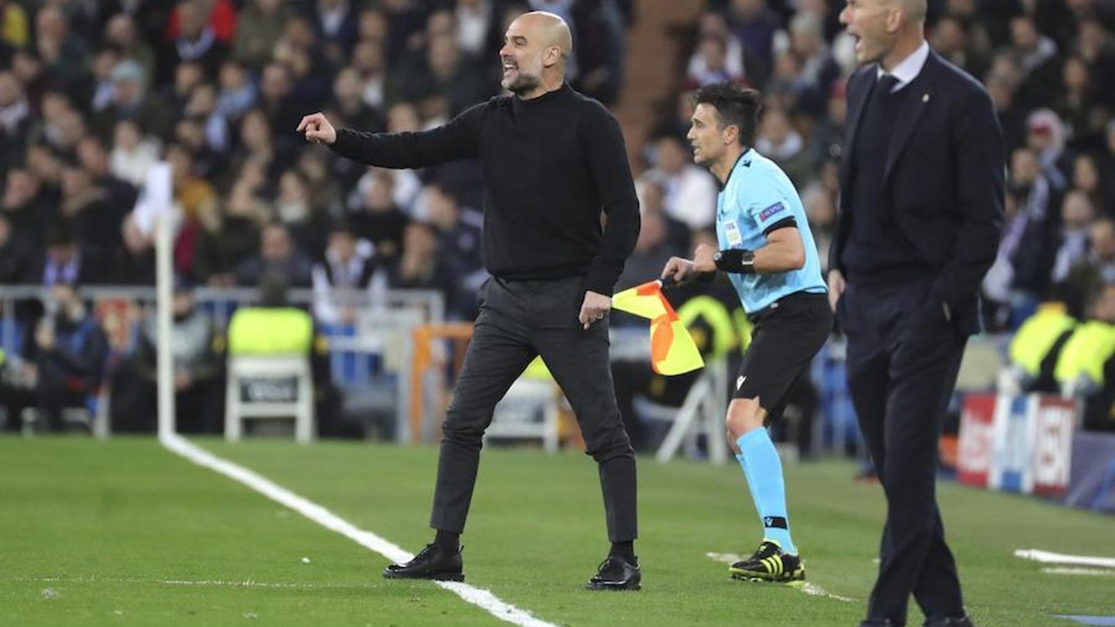 Pep Guardiola i Zinedine Zidane, durant el Madrid-City del Bernabéu
