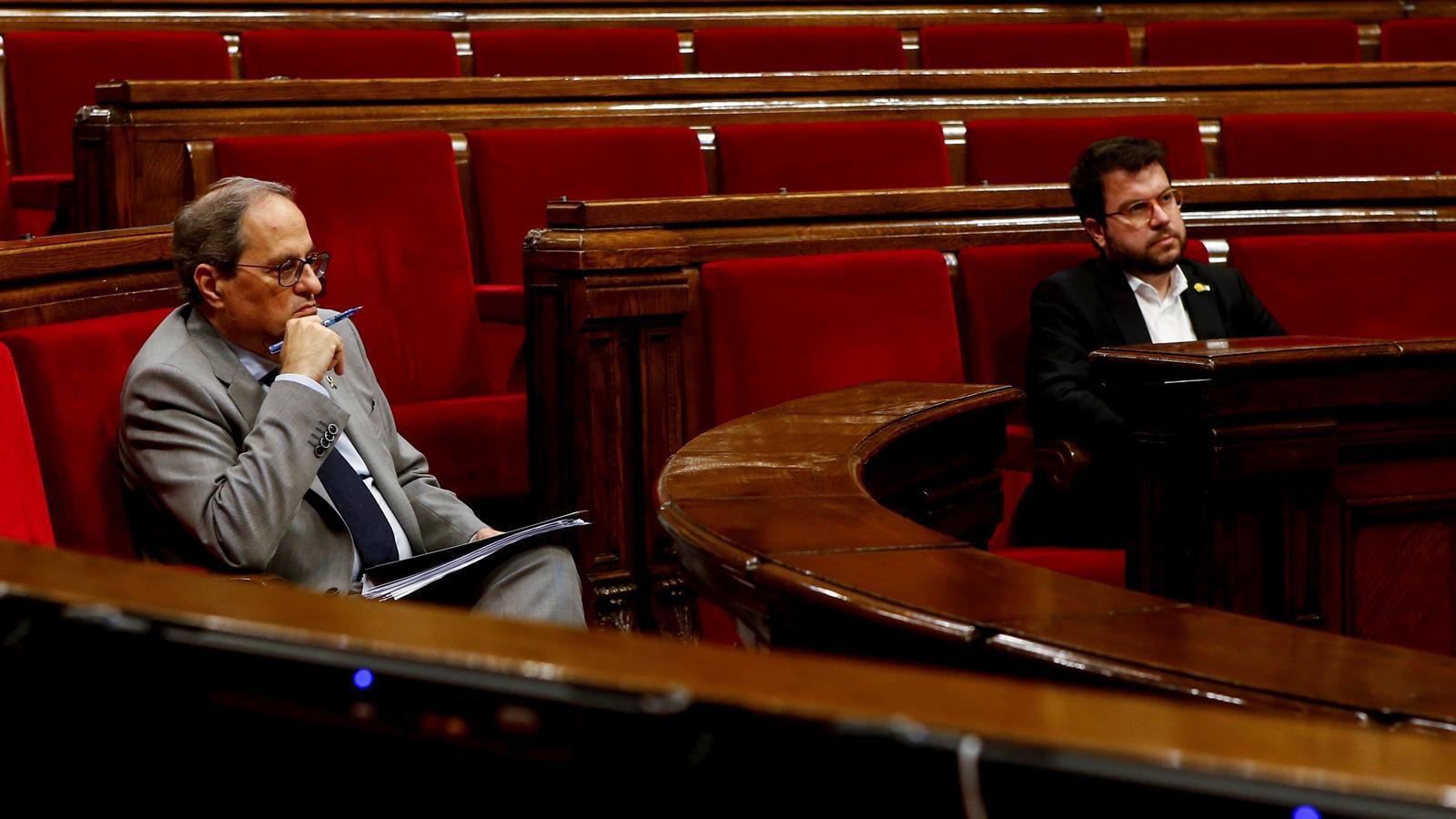 El president Torra i el vicepresident Aragonès aquest dimecres al Parlament