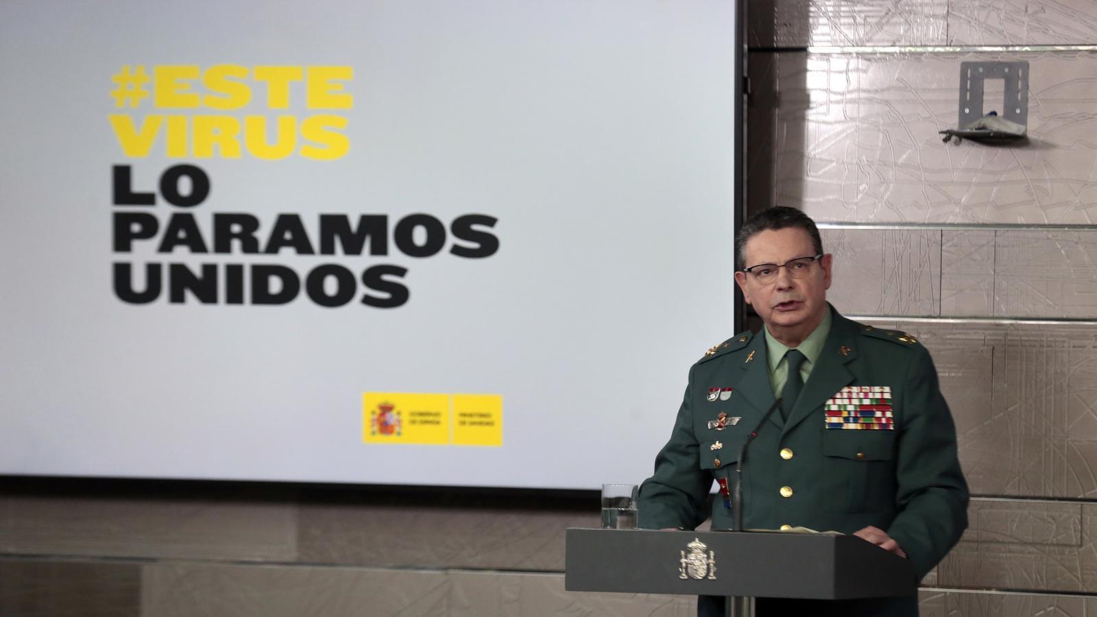 El director adjunt operatiu de la Guàrdia Civil, Laurentino Ceña, en una roda de premsa durant la crisi del coronavirus