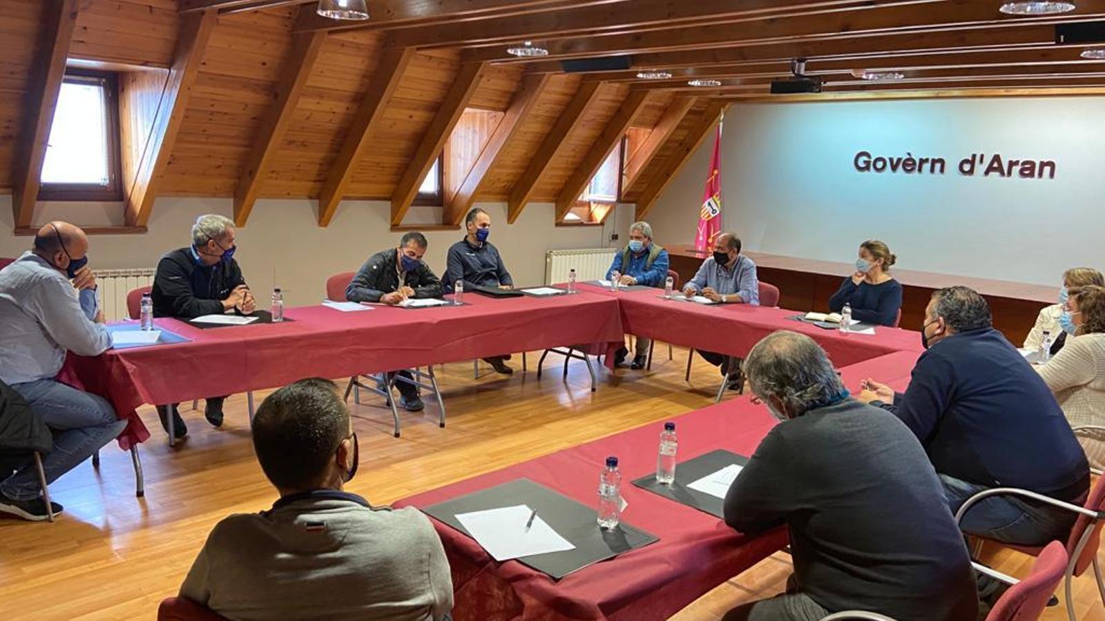 Un moment de la trobada al Conselh Generau d'Aran. / CGA