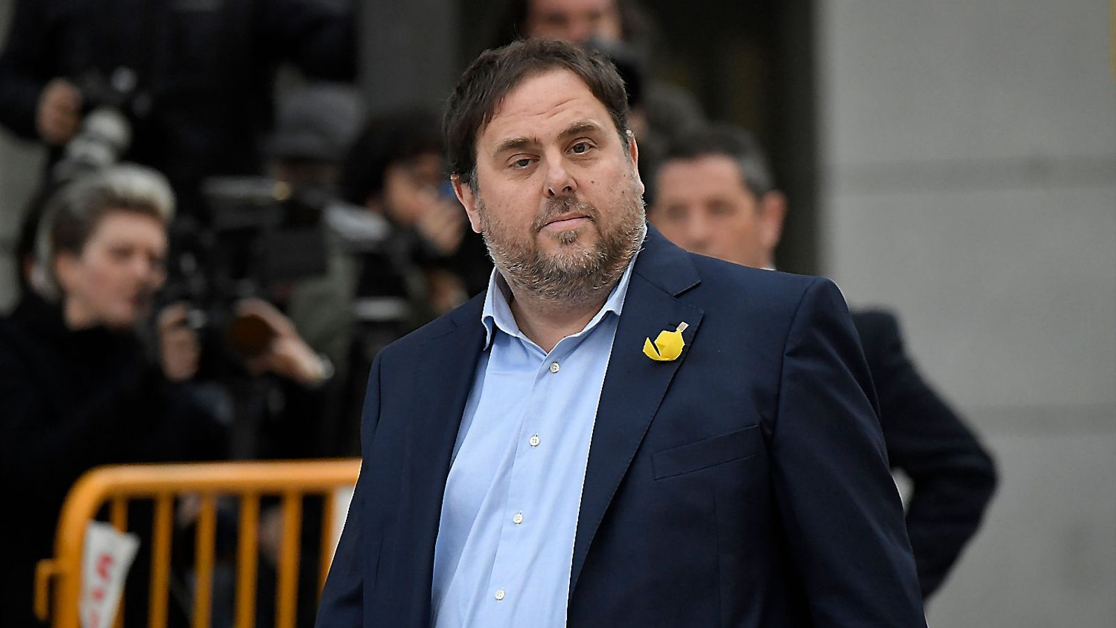 El vicepresident del Govern, Oriol Junqueras, el dia 2 de novembre abans d'entrar a declarar a l'Audiència Nacional.