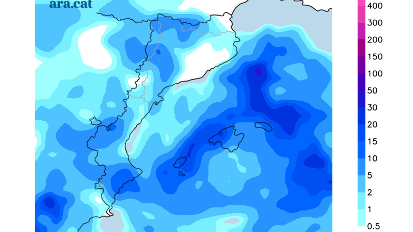 Acumulacions de precipitació previstes per aquest dijous