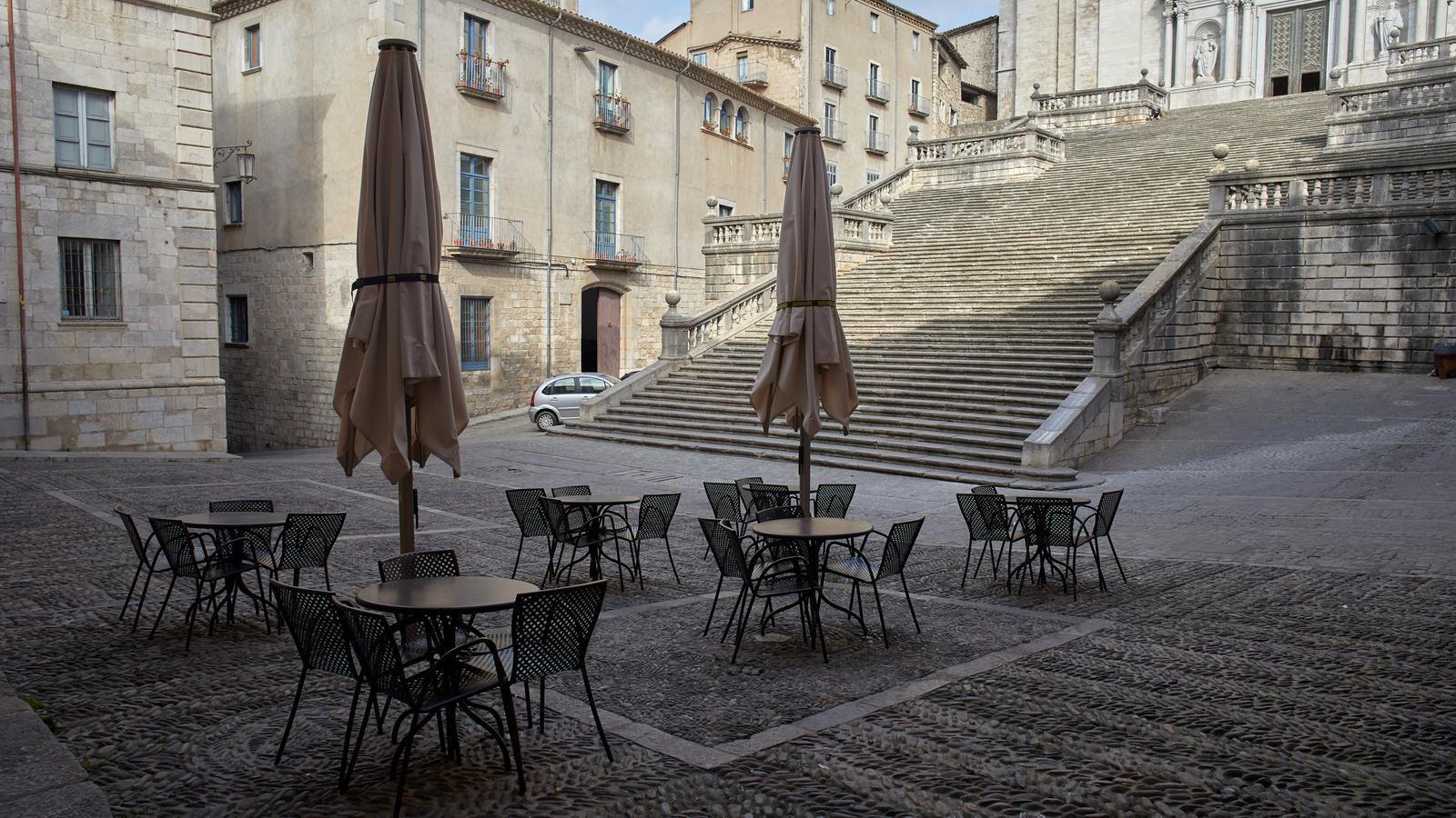 La terrassa d'un bar a Girona