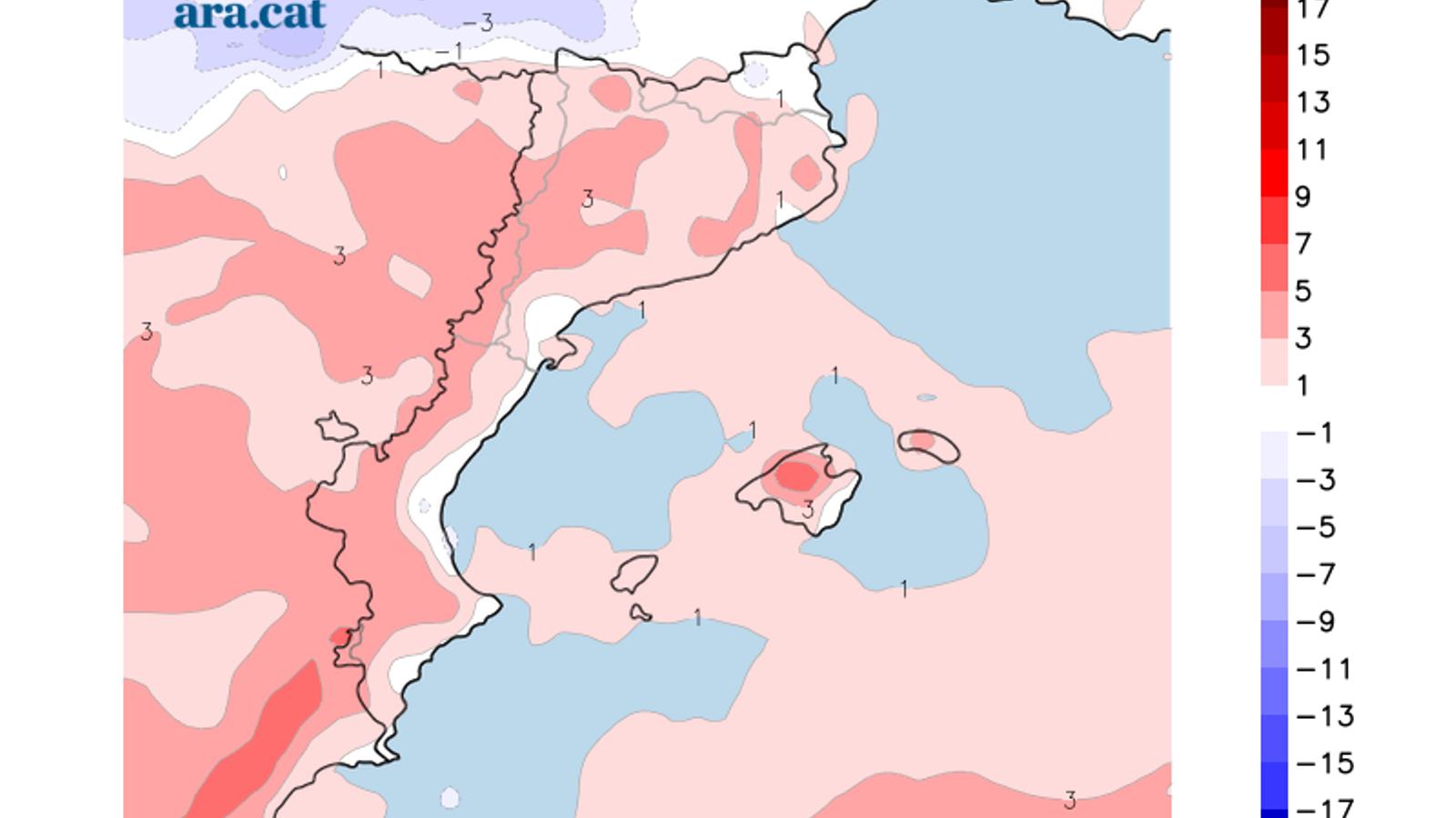 Diferència de temperatura prevista entre aquest dissabte i el pròxim dimecres.
