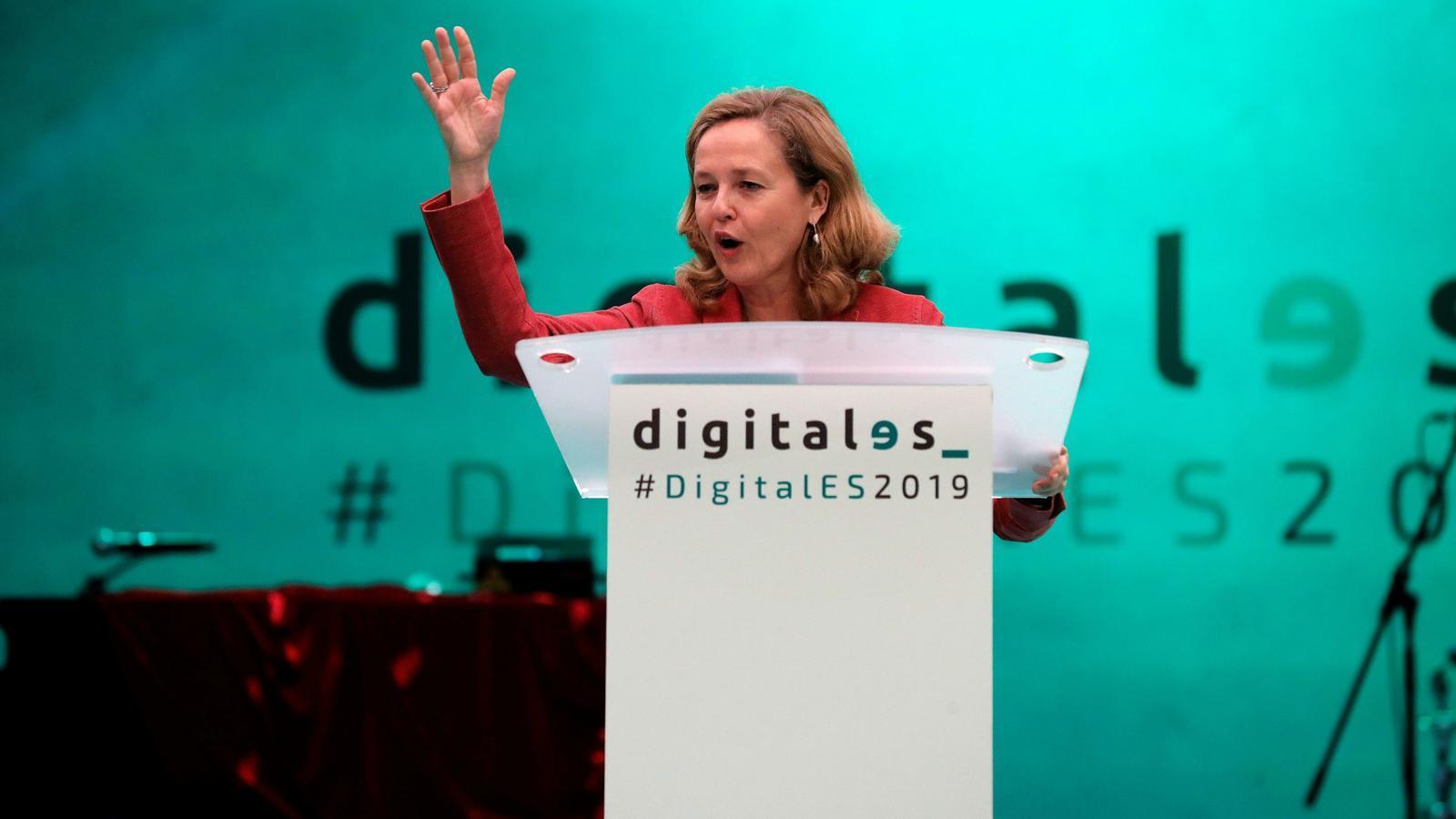 La ministra d'economia en funcions, Nadia Calviño, no descarta aplicar la taxa Google sense acord a nivell europeu.