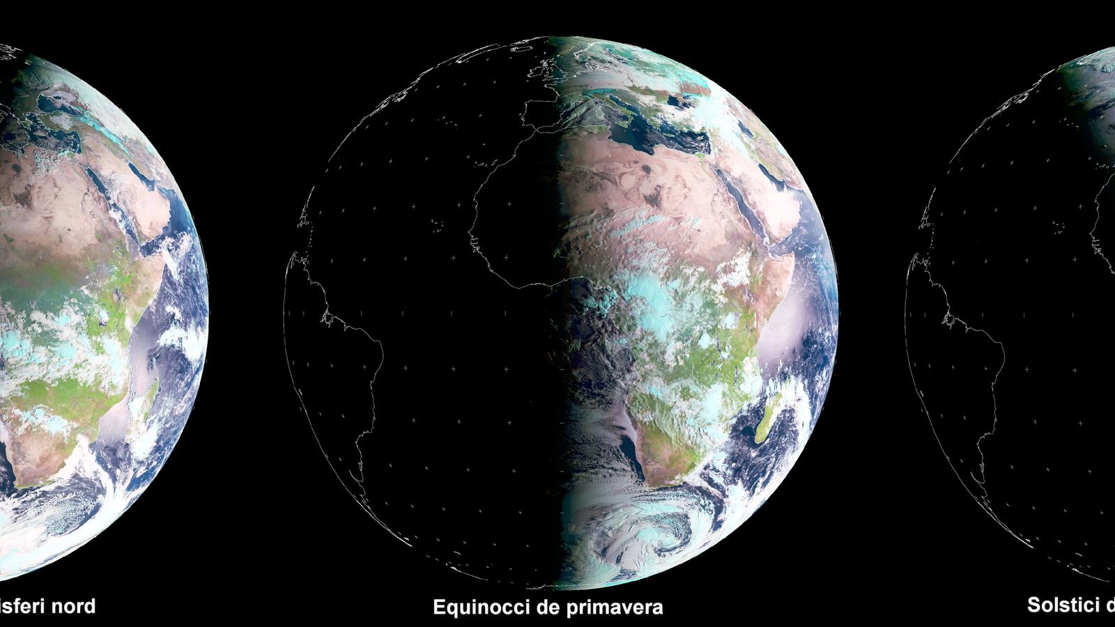 FIGURA 1. Imatges enregistrades pel satèl·lit Meteosat durant els solsticis i equinoccis. / EUMETSAT