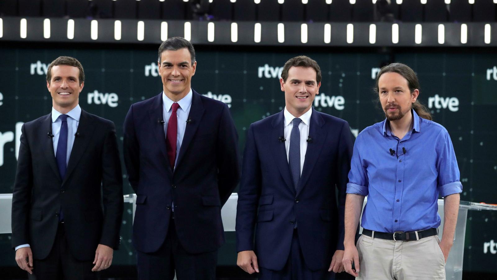 Els quatre candidats en el debat de TVE