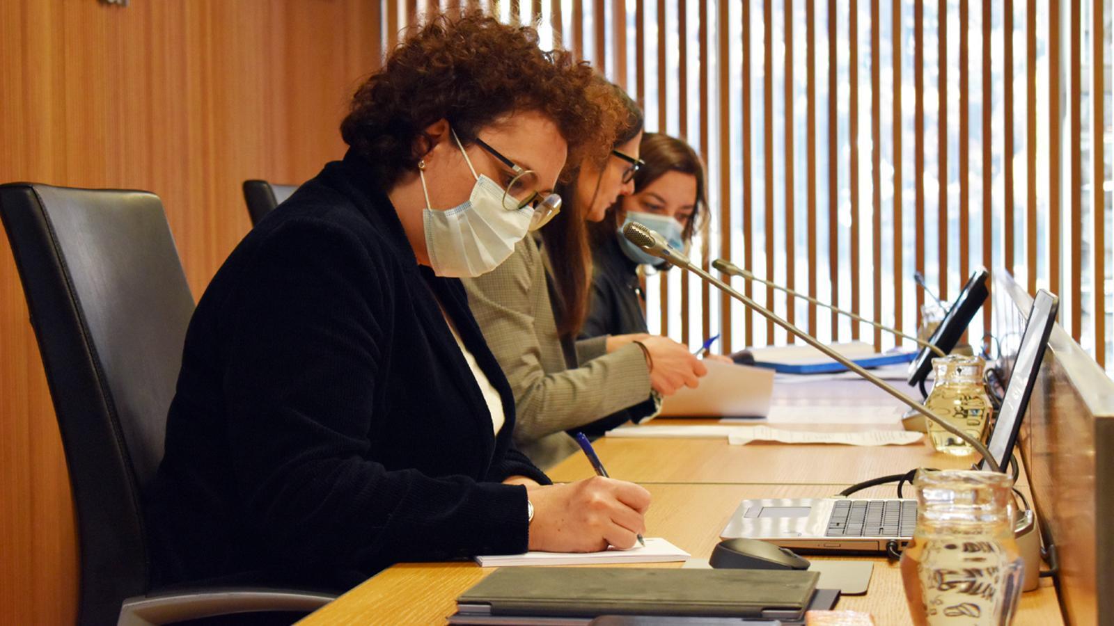 La ministra de Funció Pública i Simplificació Adminisrativa, Judith Pallarés, moments previs a la compareixença. / M. P. (ANA)
