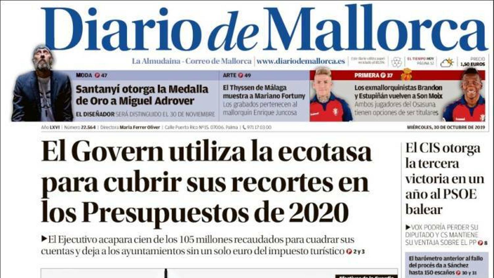 """""""Torra obre una caça de bruixes per controlar els Mossos"""", a la portada d''El Mundo'"""