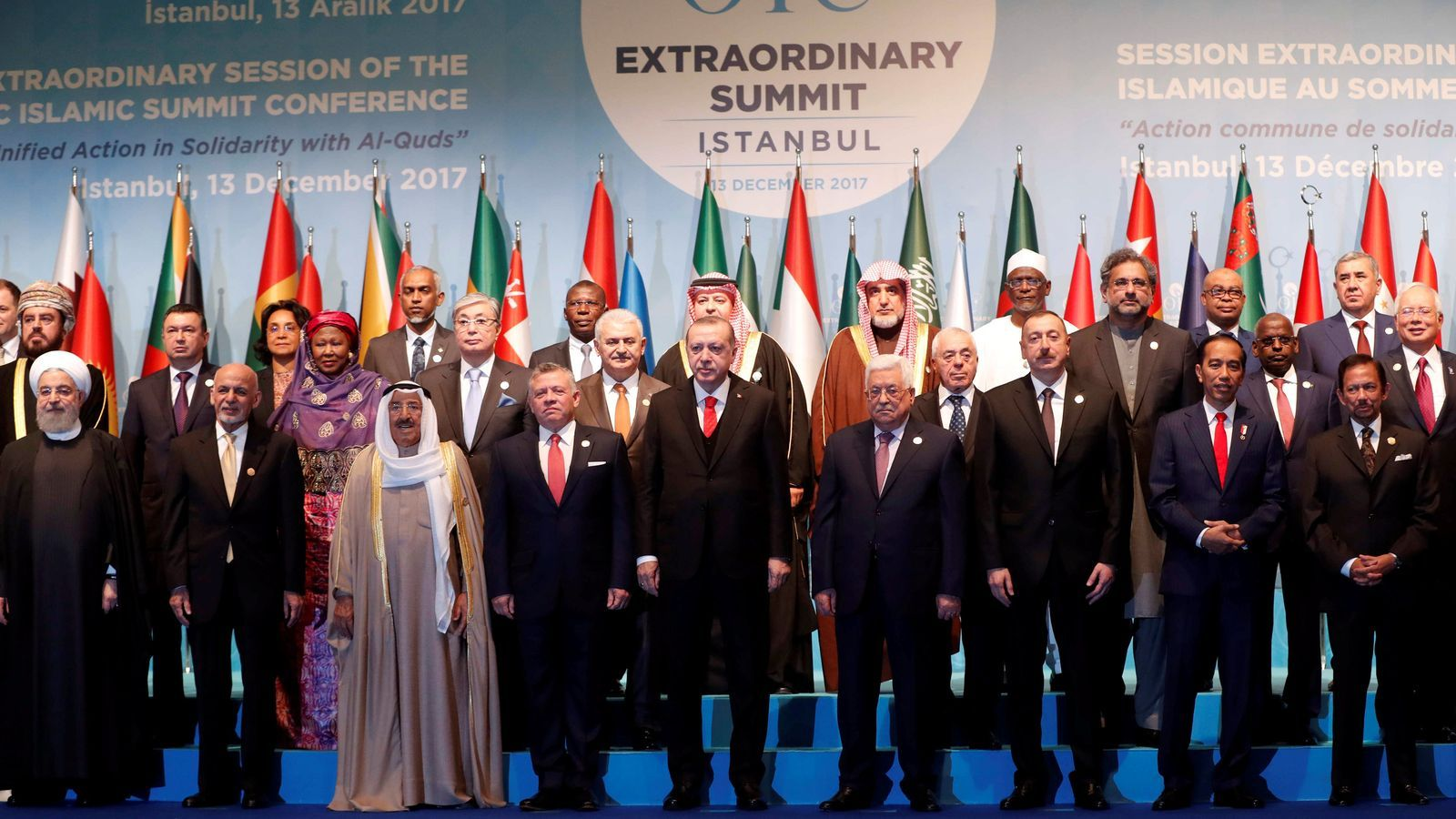 Els capdavanters dels països presents en la cimera convocada per Turquia després del anunci dels EUA sobre Jerusalem