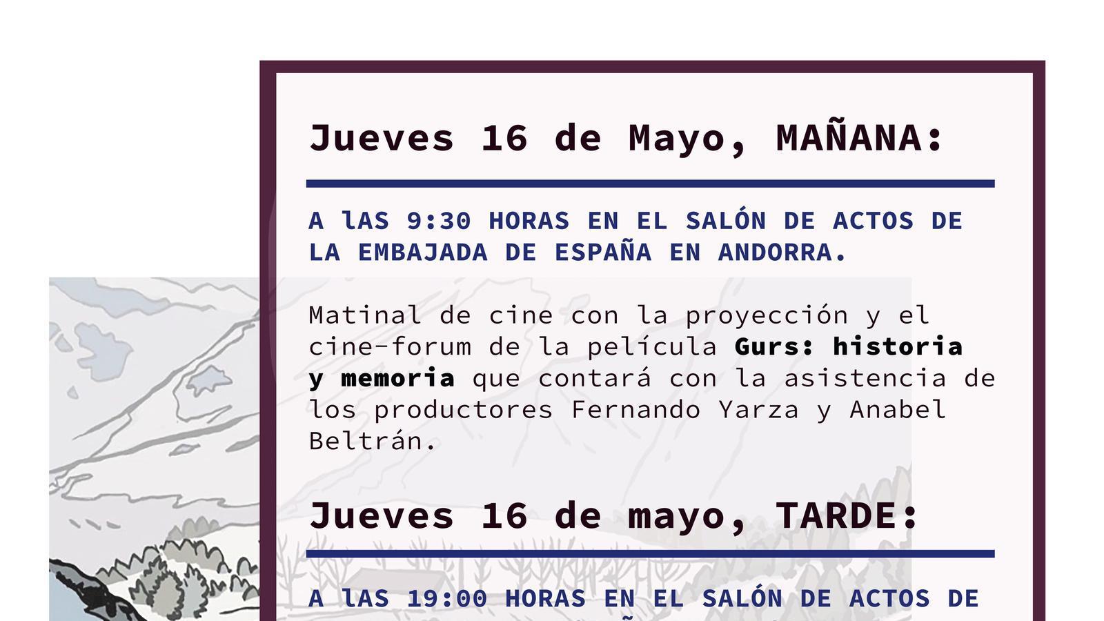 Cartell dels actes commemoratius dels 80 anys d'exili republicà. / EMBAJADA ESPAÑOLA EN ANDORRA