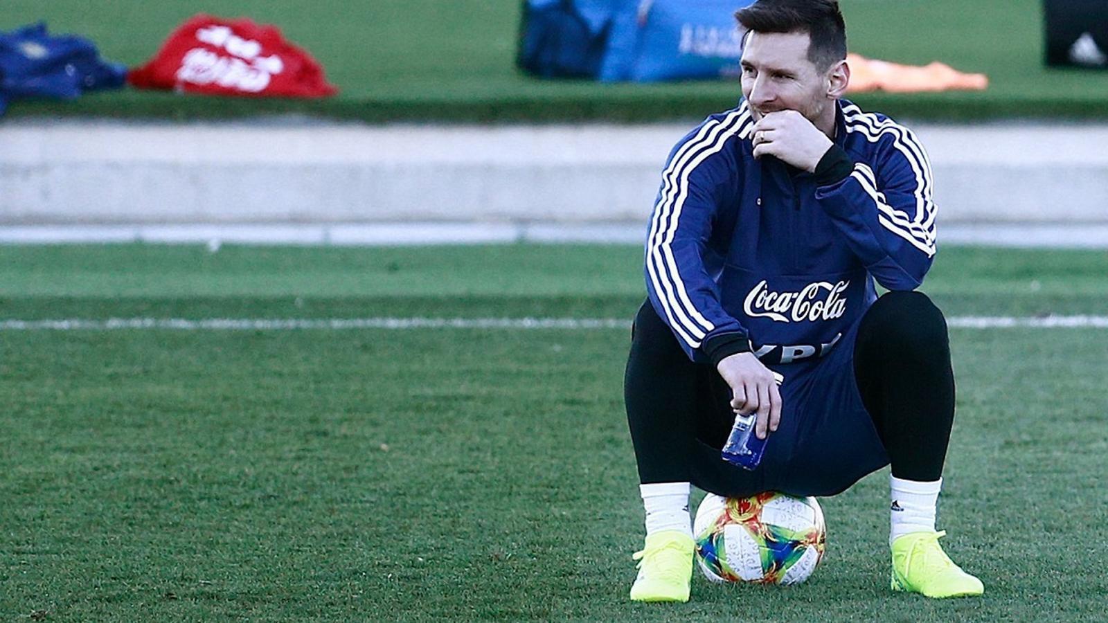 Leo Messi, durant un entrenament de la selecció argentina