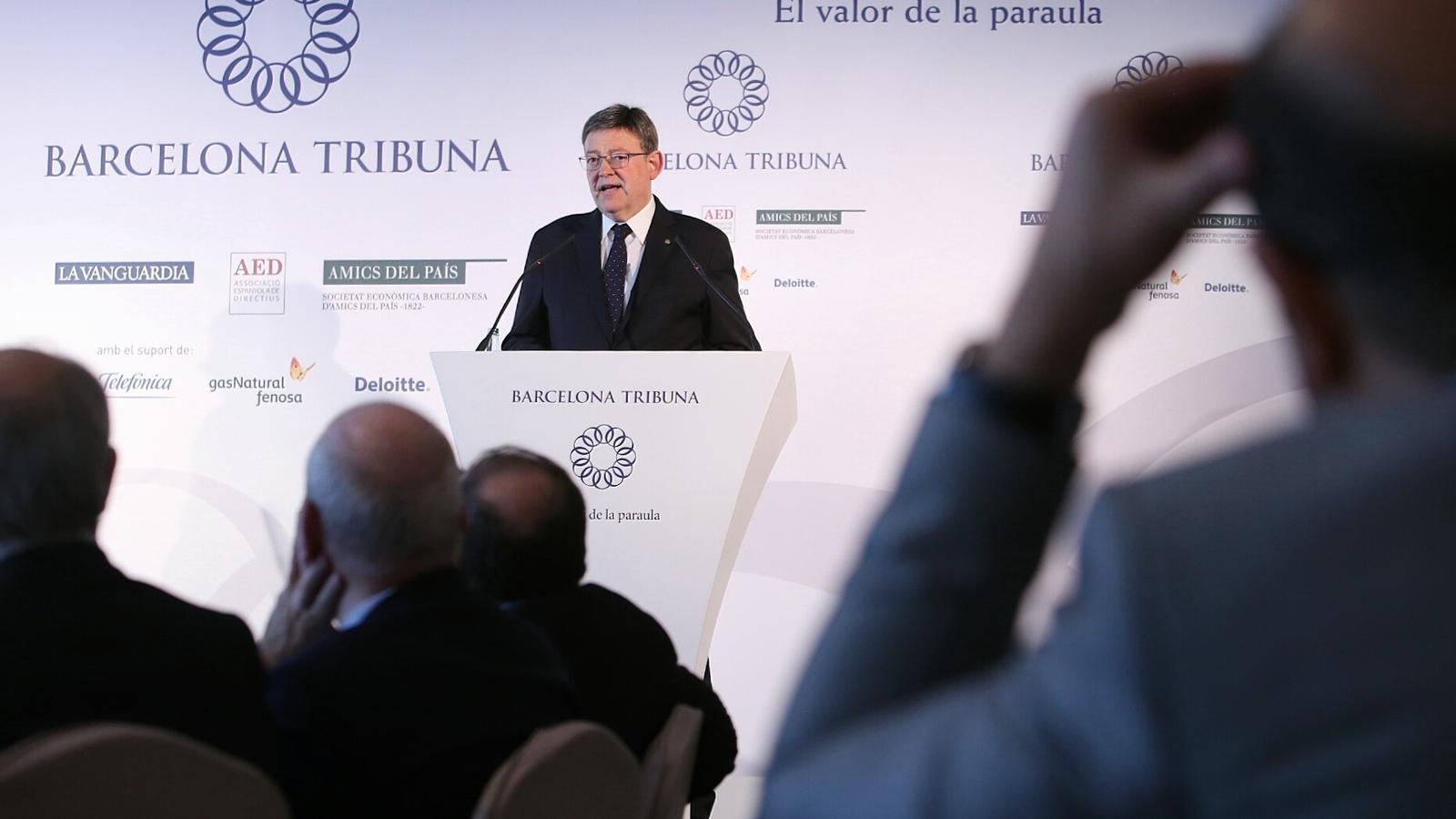 El president valencià Ximo Puig ha participat aquest dimecres en el fòrum 'Barcelona Tribuna'.