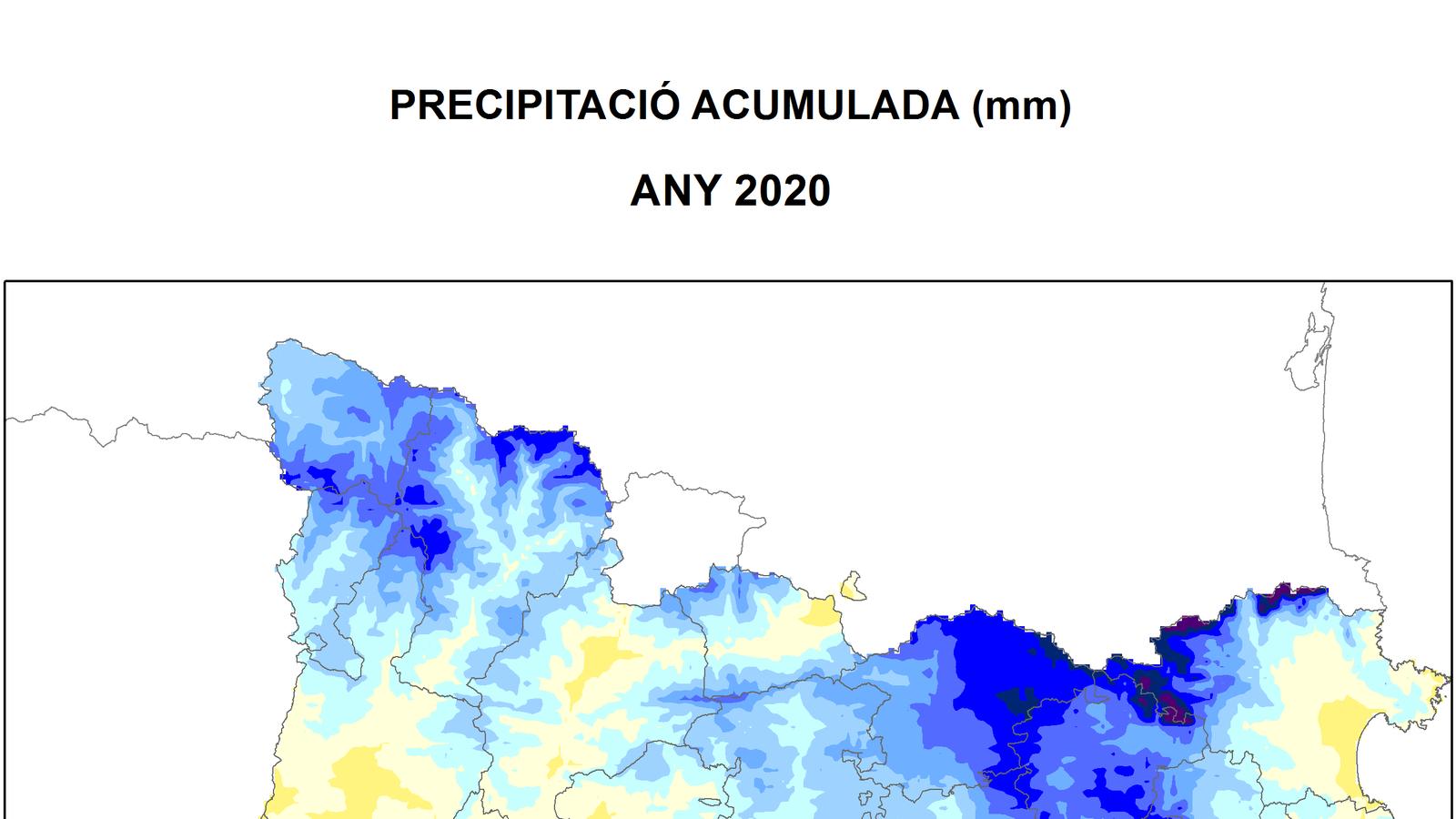 Precipitació total acumulada a Catalunya