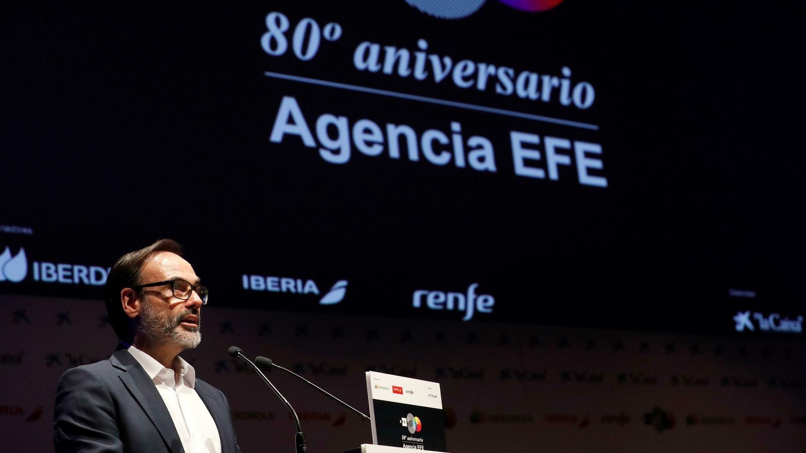 Fernando Garea, en l'acte de celebració dels 80 anys de l'agència Efe