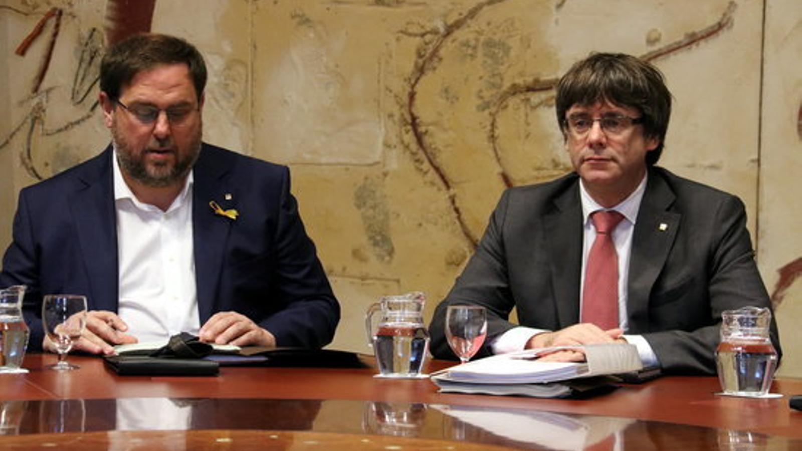 Oriol Junqueras i Carles Puigdemont en una imatge d'arxiu