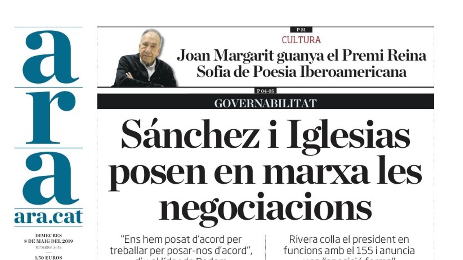 """""""Sánchez i Iglesias posen en marxa les negociacions"""", portada de l'ARA"""