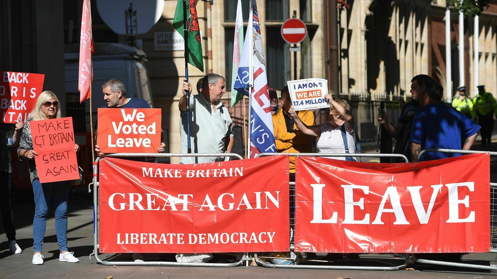 Manifestants a favor del brexit