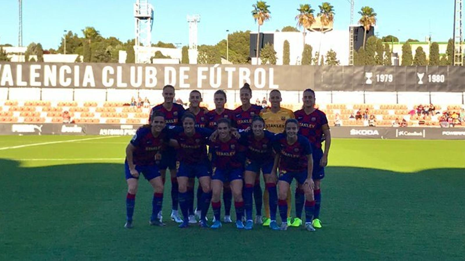 Les jugadores del Barça, abans del partit
