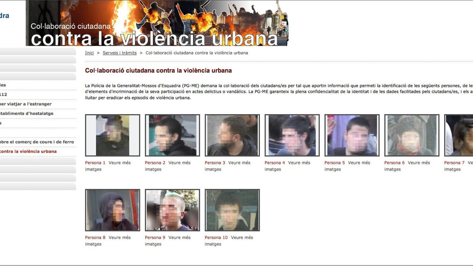La primera pàgina de la web per denunciar vàndals dels Mossos. Hem distorsionat les cares. A la web d'Interior apareixen visibles i els joves es reconeixen.