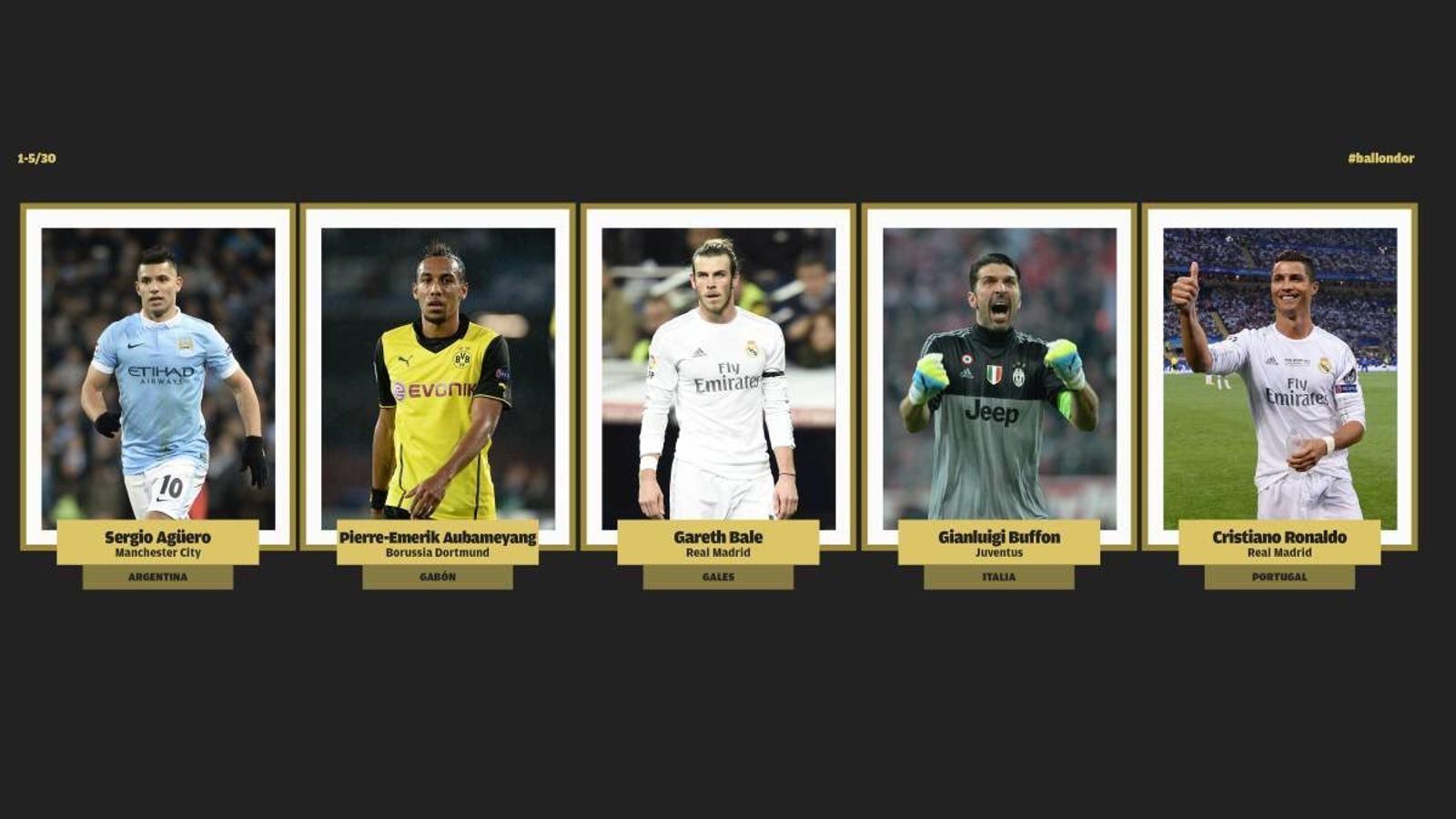 Els primers 5 candidats a la Pilota d'Or 2016